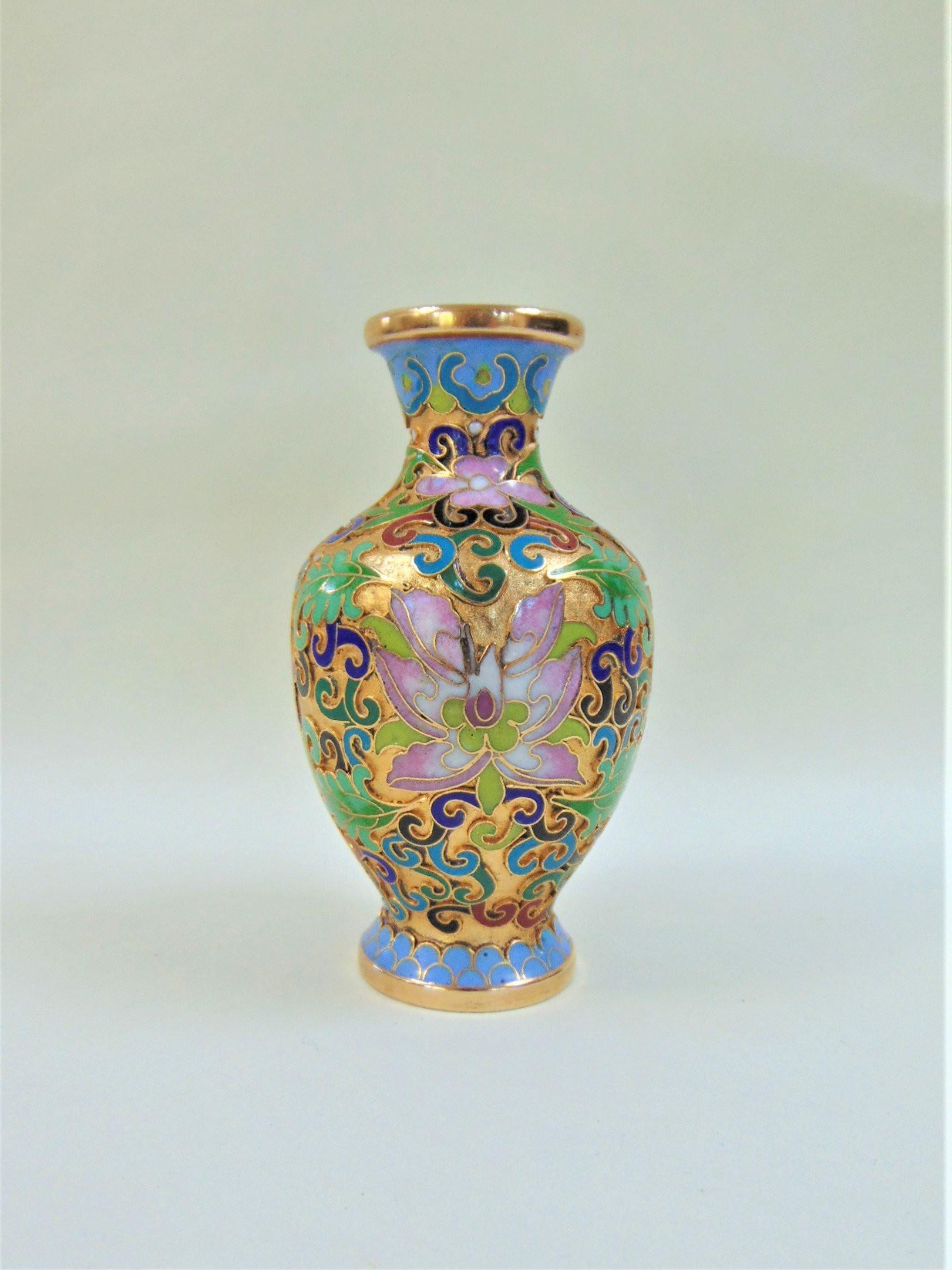"""japanese cloisonne vase of cloisonne posy vase vintage japanese vibrant floral enamelled etsy for dŸ""""Žzoom"""