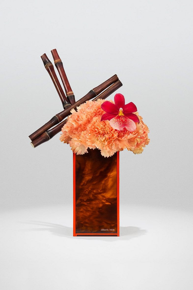 Japanese Ikebana Vases Of orange Dianthus Sugar Cane and Red Cambria orchid On Turtle Throughout orange Dianthus Sugar Cane and Red Cambria orchid On Turtle Plexiglass Vase Armani Flowers