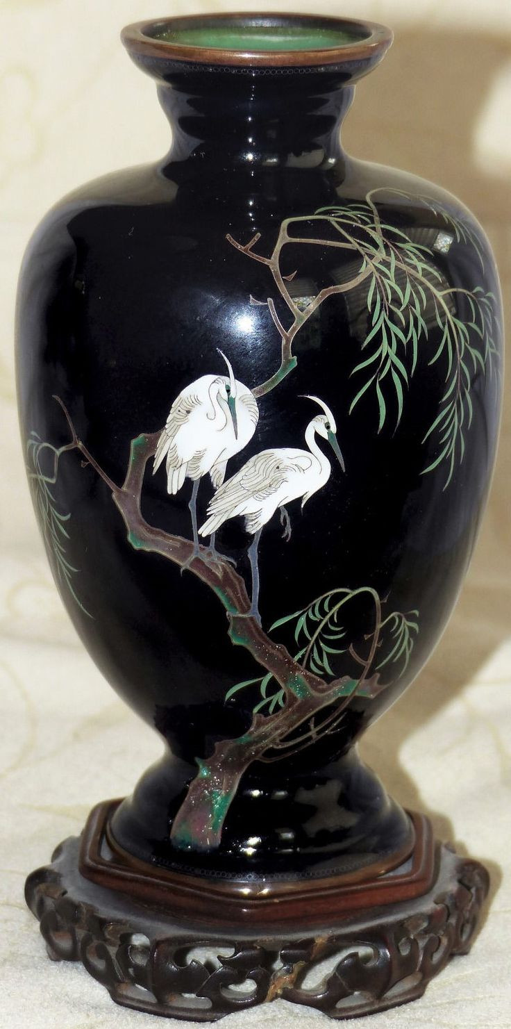 japanese pigeon blood cloisonne vase of 237 best cloisonne images on pinterest enamels porcelain regarding cloisonna egrets weeping willow on black vase
