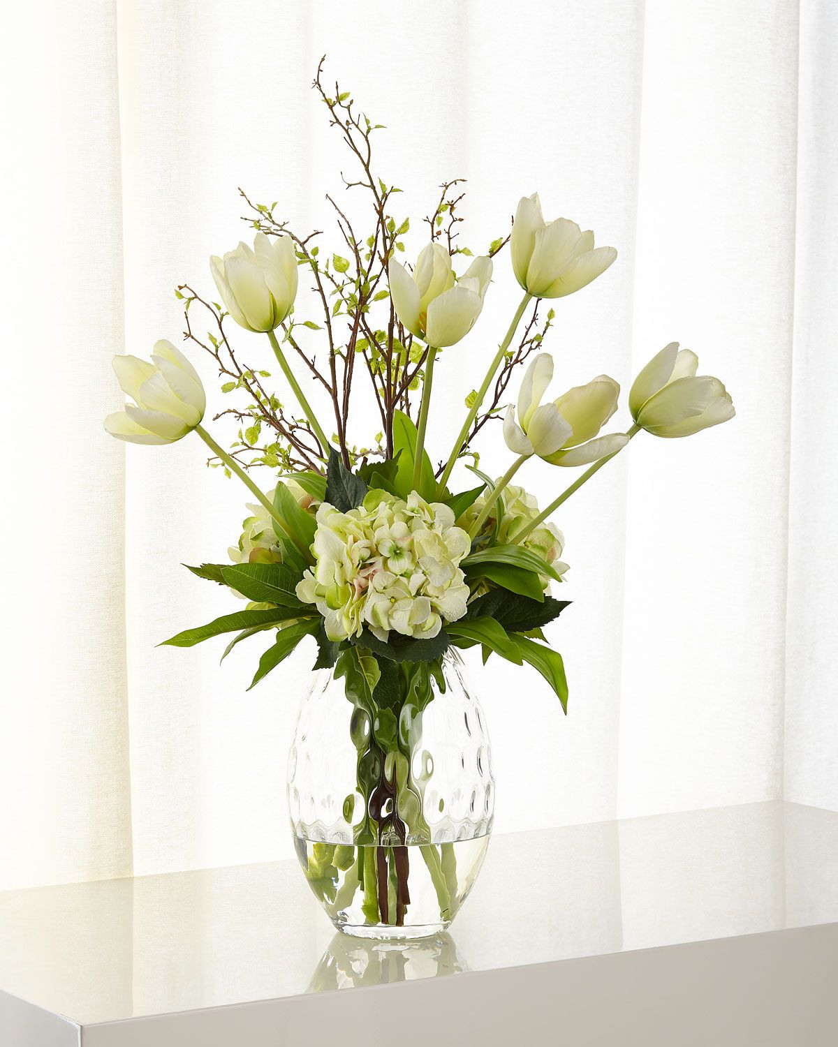 john richard vase of selenite orchid faux floral arrangement regarding tulip hydrangea faux floral arrangement