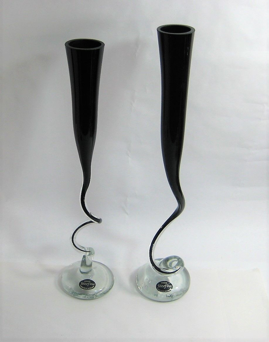 jozefina art glass vase of jozefina krosno poland art black glass vases 2 tall single stem 14 with regard to jozefina krosno poland art black glass vases 2 tall single stem 14 15 mcm 1 of 12 jozefina krosno poland art black glass vases