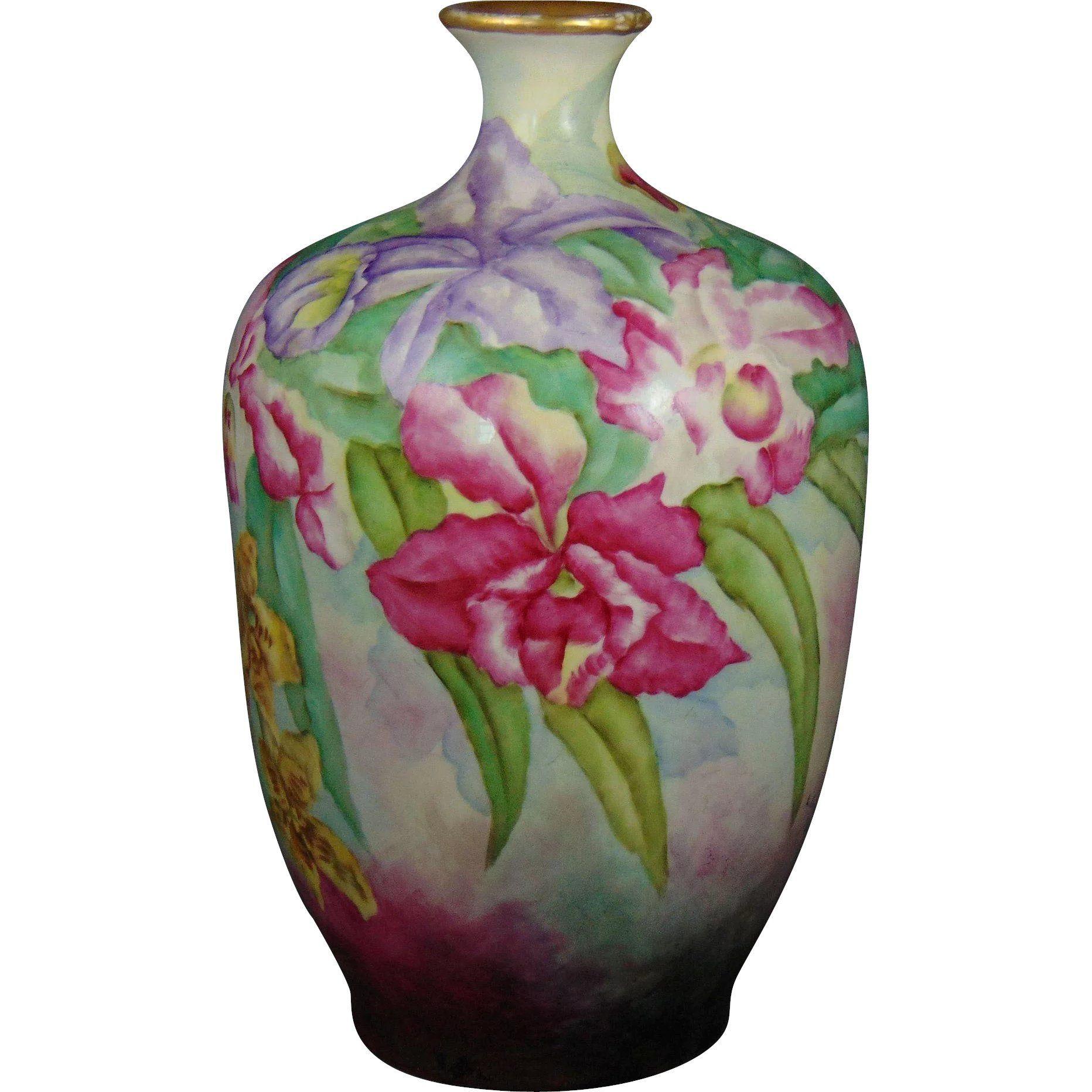 jpl france vase of jp limoges orchid design vase signed l schreyer dated 1909 i inside jp limoges orchid design vase signed l schreyer dated