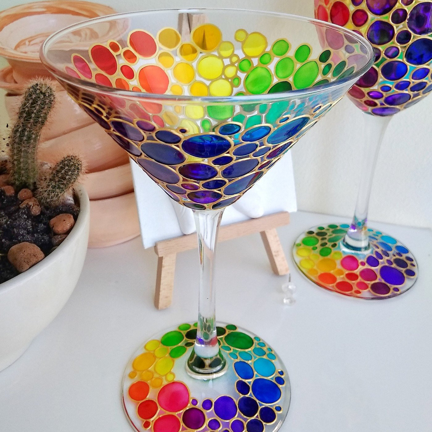 jumbo martini glass vase of updates from artmasha on etsy in rainbow painted wine glass click to view listing