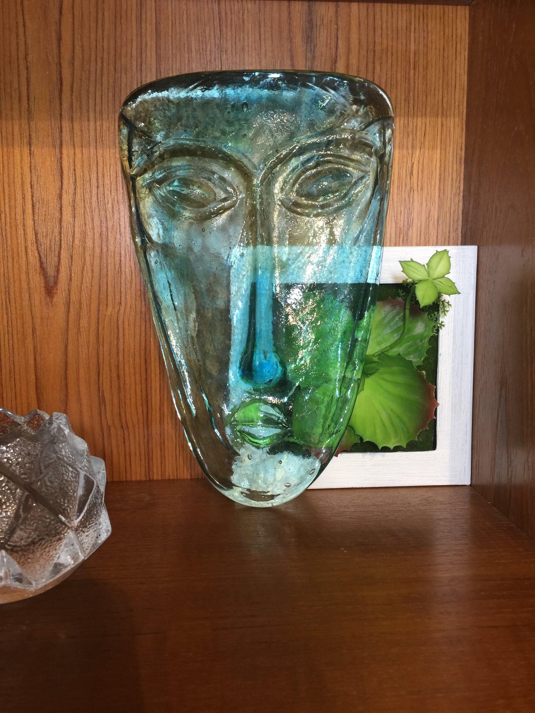 kosta boda blue vase of aqua blue art glass face mask wall decor etsy regarding image 0