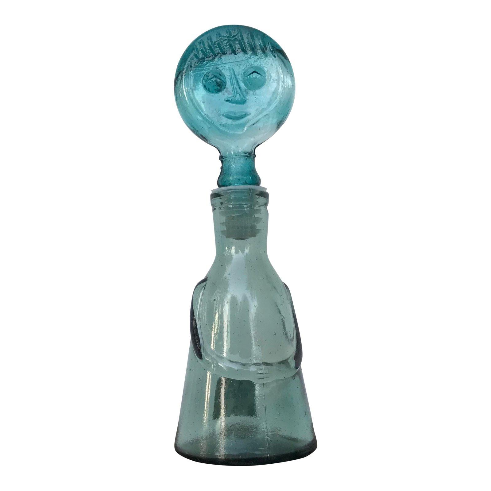 kosta boda face vase of 1960s vintage erik hoglund for kosta boda blue glass person bottle throughout 1960s vintage erik hoglund for kosta boda blue glass person bottle chairish