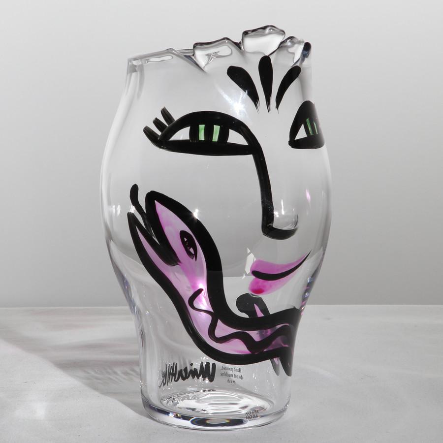 kosta boda face vase of open minds vase clear pink kosta boda us with open minds vase clear pink