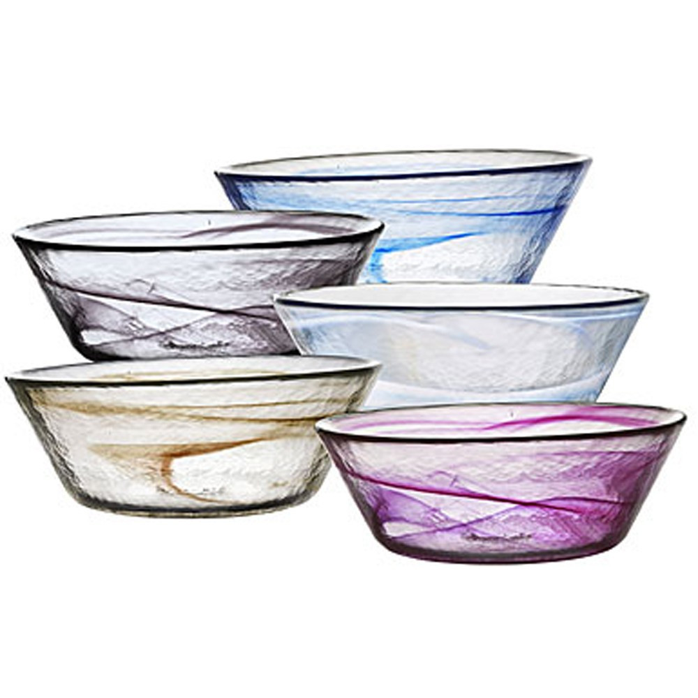 Kosta Boda Satellite Vase Of Colorful Mine Salad Bowls by Ulrica Hydman Vallien for Kosta Boda In Colorful Mine Salad Bowls by Ulrica Hydman Vallien for Kosta Boda La Boutique Danoise