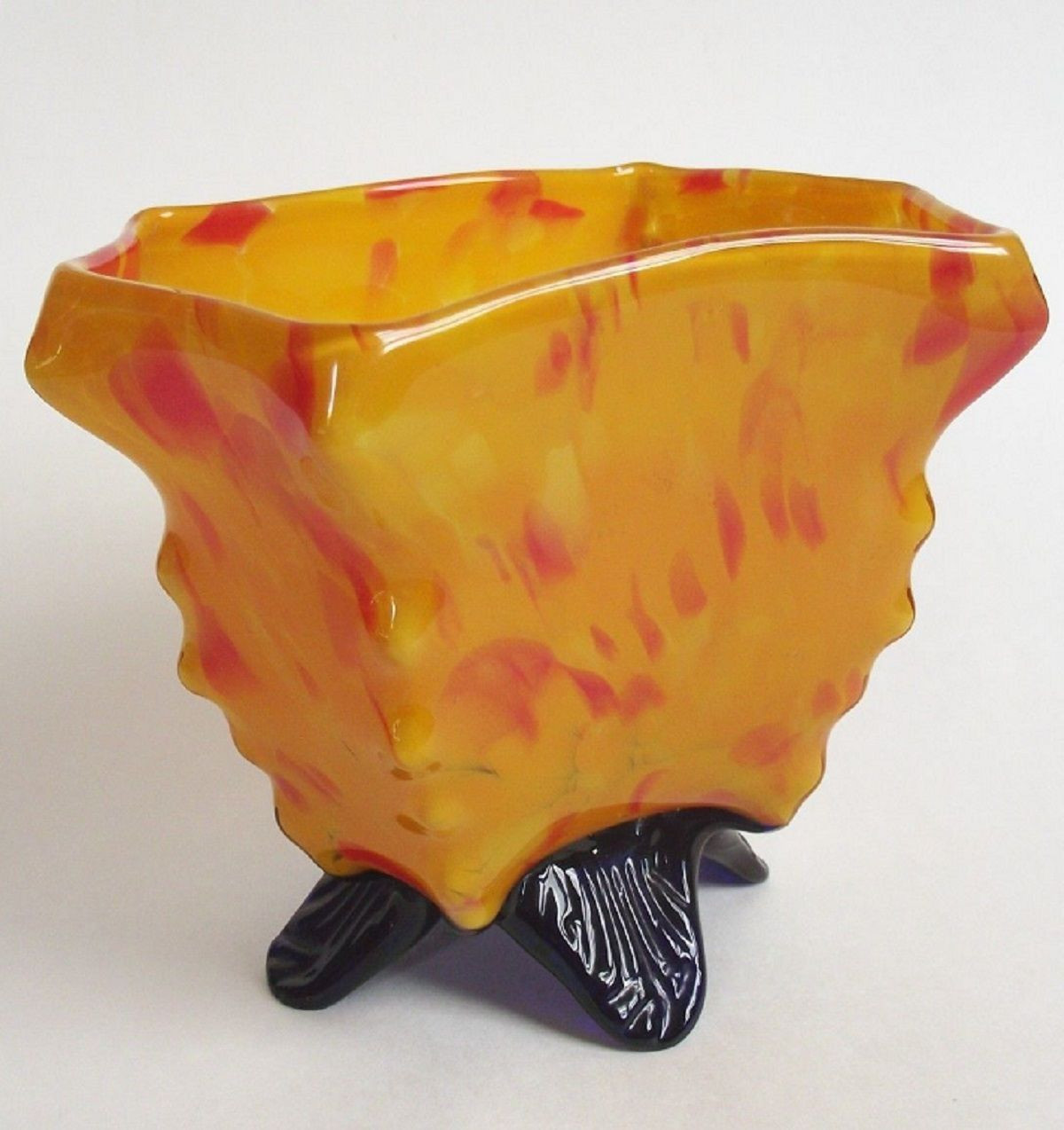 Kralik Glass Vase Of Kralik Bohemian Czech Art Deco Knuckle Spatter Glass Vase Red orange Throughout Kralik Bohemian Czech Art Deco Knuckle Spatter Glass Vase Red orange Blue Bowl