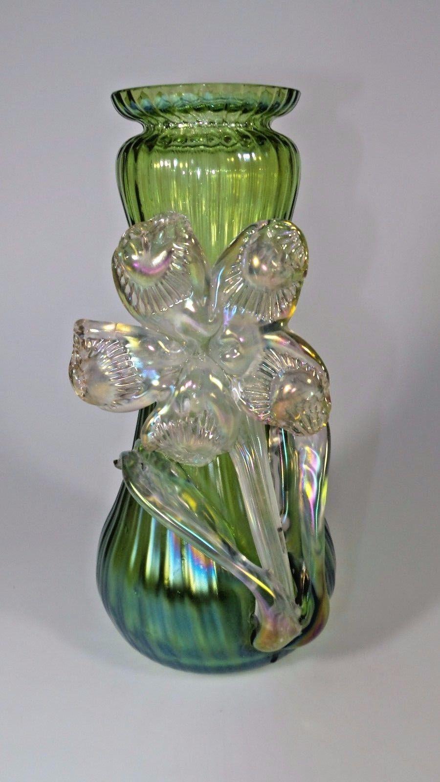 Kralik Glass Vase Of Vintage Art Nouveau Kralik Green Iridescent Art Glass Vase W Applied for Vintage Art Nouveau Kralik Green Iridescent Art Glass Vase W Applied Flower Pottery