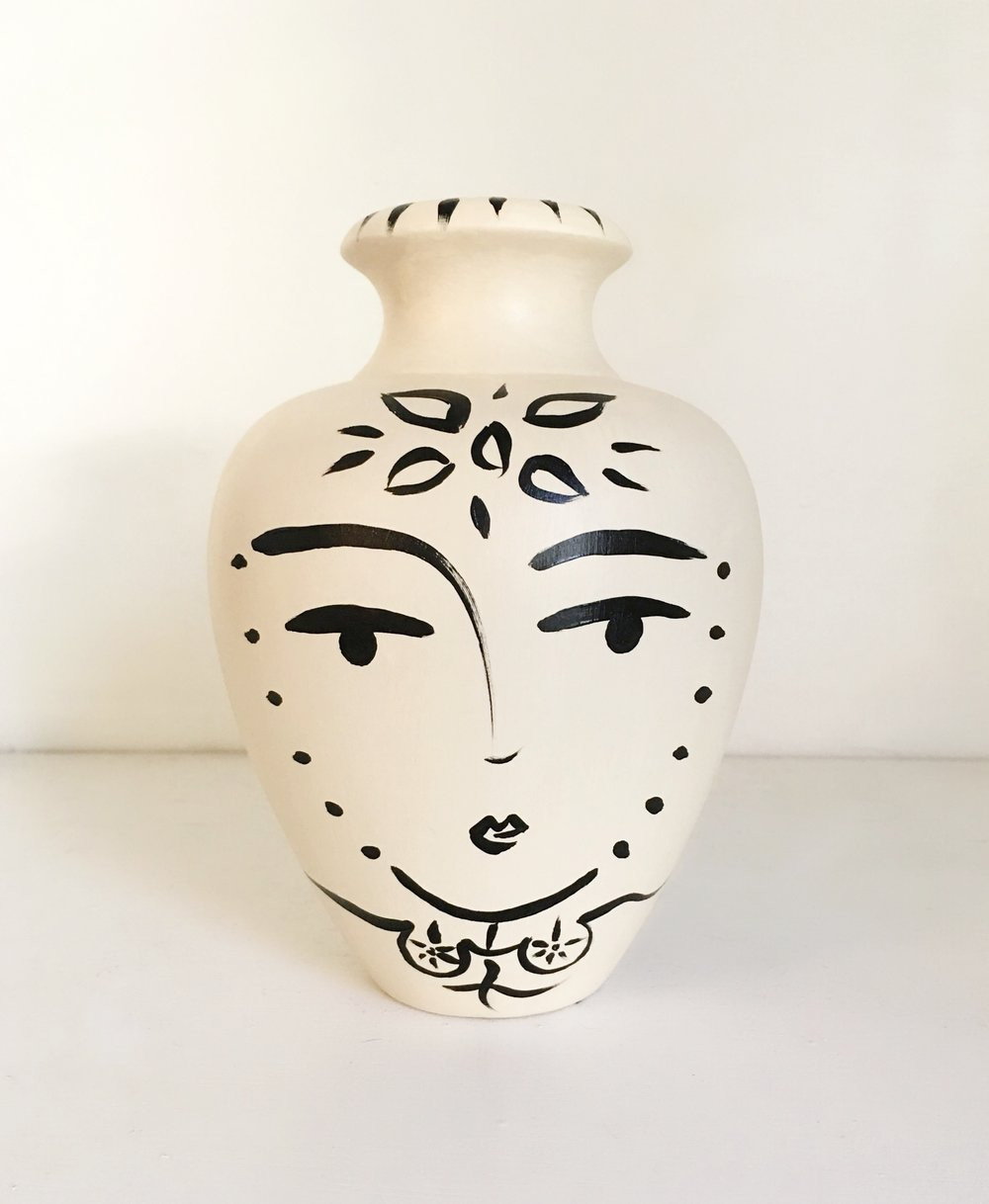 Lady Head Vase Collection Of Paige Pottery Paige Kalena Follmann Inside Sacred Femme Flower Vase sold Quogue Gallery