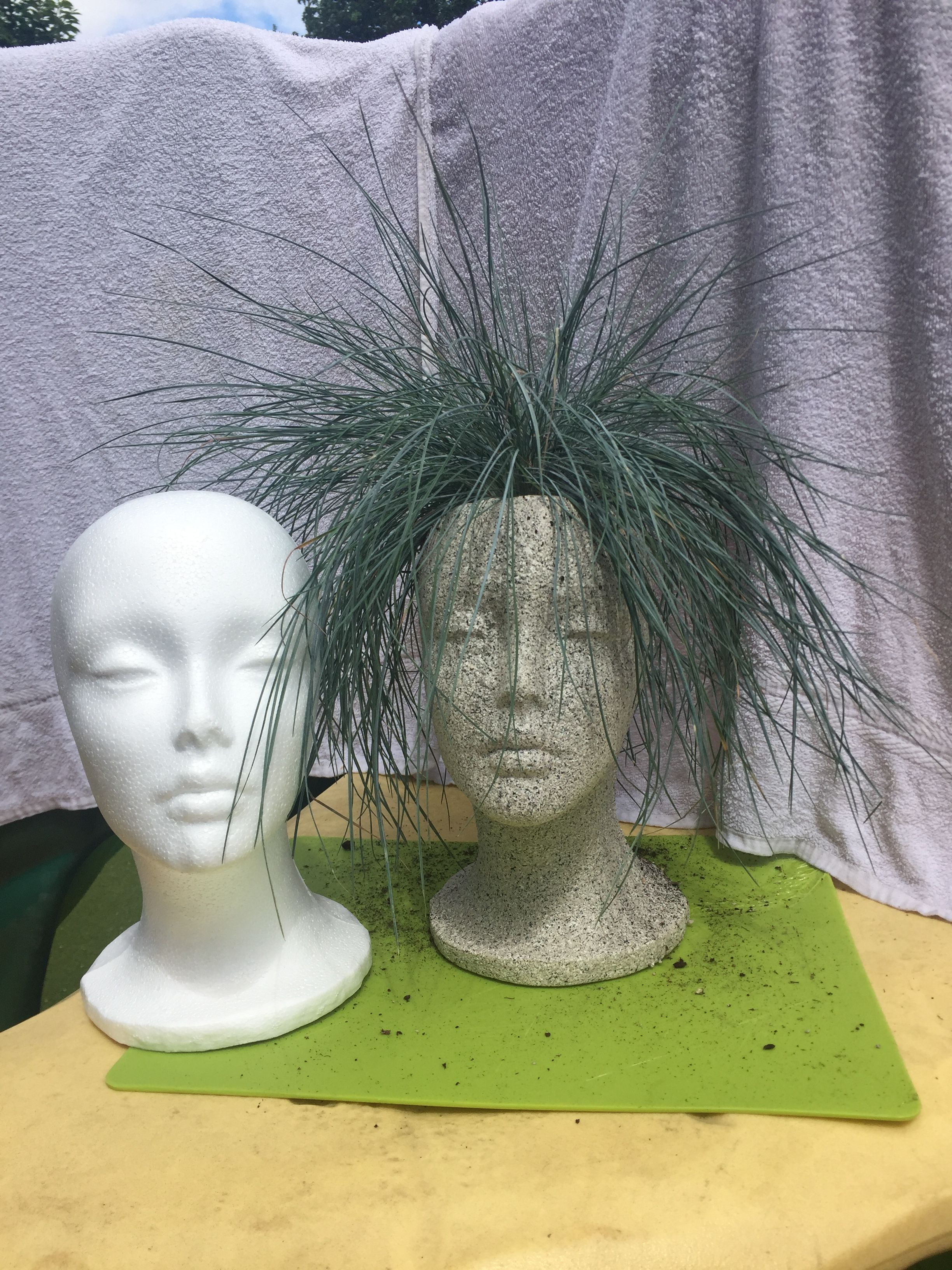 lady head vases of head planters i made headplanters vases headvases plants with styrofoam head into plant pot