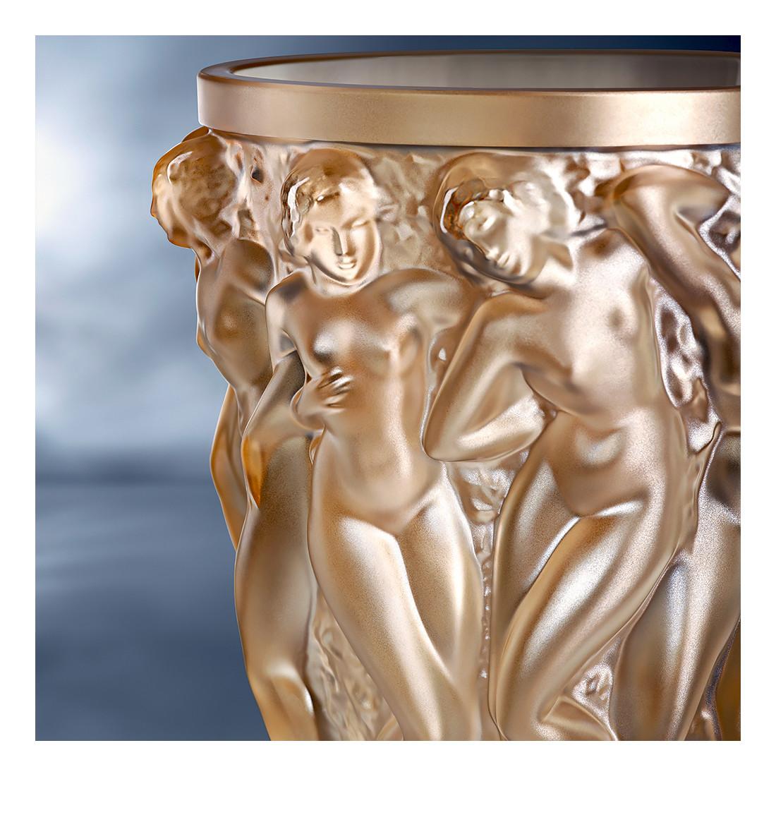 lalique bacchantes vase large of vase lalique bacchantes 10547100 in bacchantes vase in gold luster crystal lalique