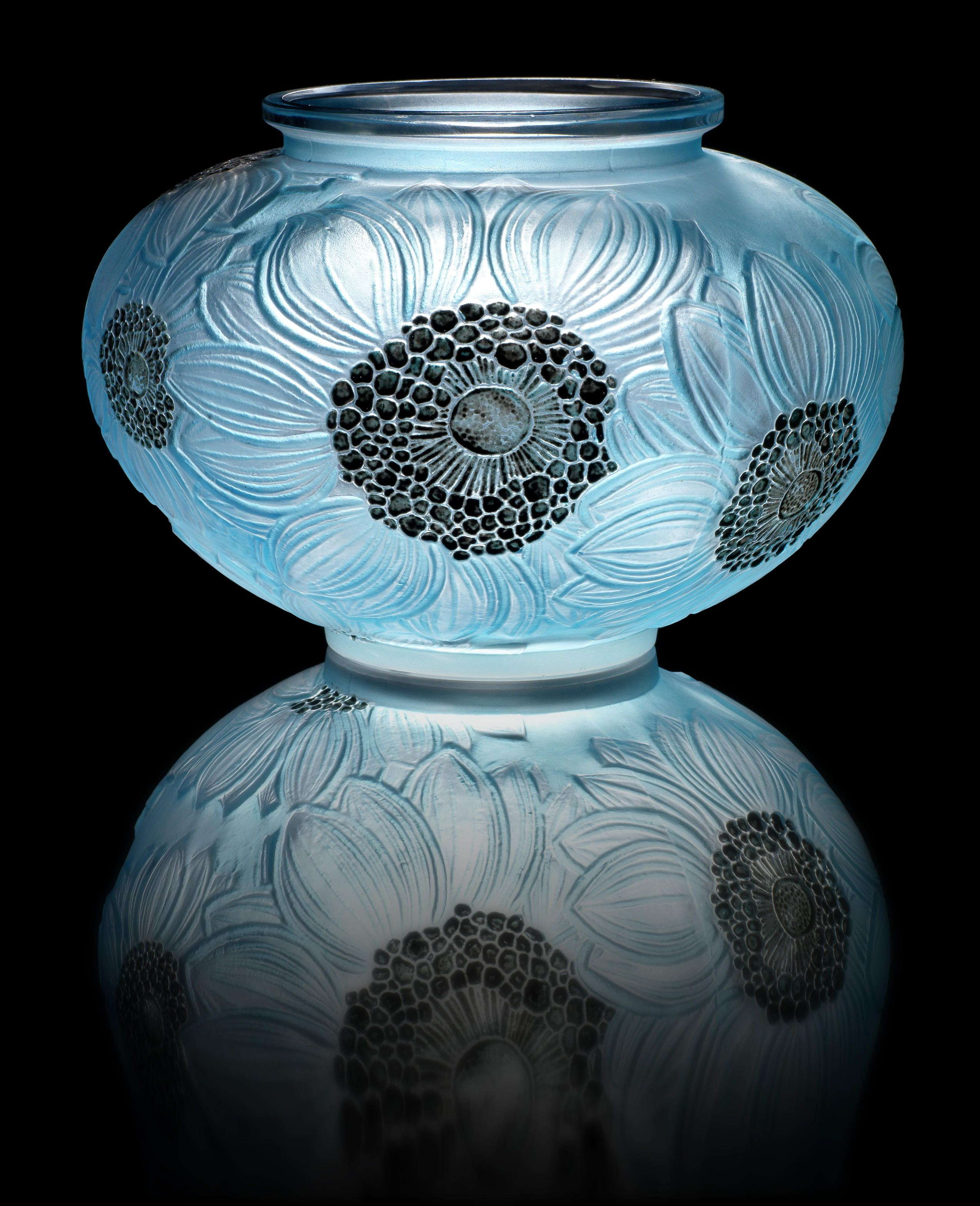 Lalique Dove Vase Of Rena Lalique Dahlias A Vase Design 1923 Frosted Glass Heightened In Rena Lalique Dahlias A Vase Design 1923 Frosted Glass Heightened with Blue Staining and Black Enamel 12 4cm High