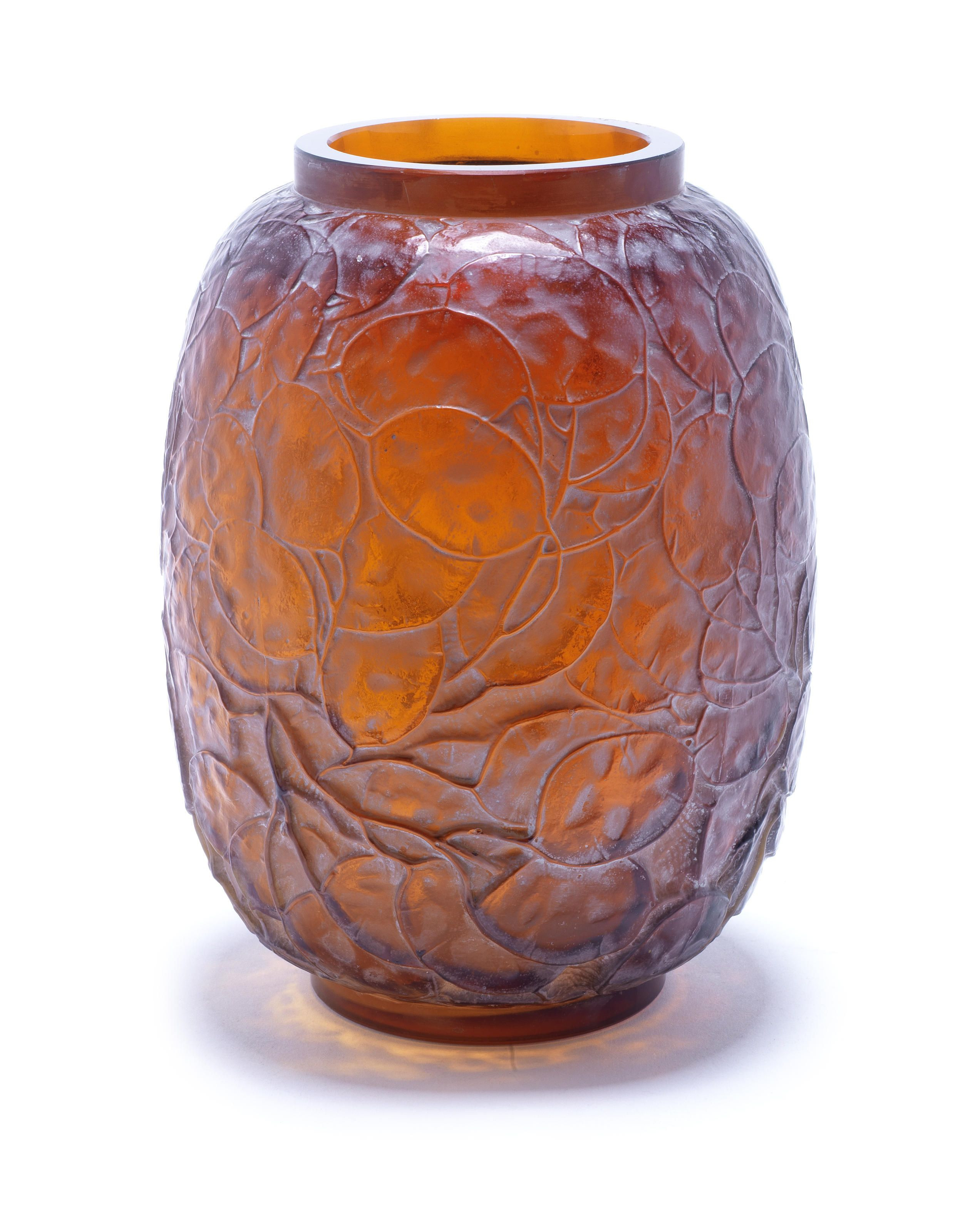 lalique glass vase of rena lalique monnaie du pape a vase design 1914 amber glass within rena lalique monnaie du pape a vase design 1914 amber glass frosted and heightened with white staining 23cm high