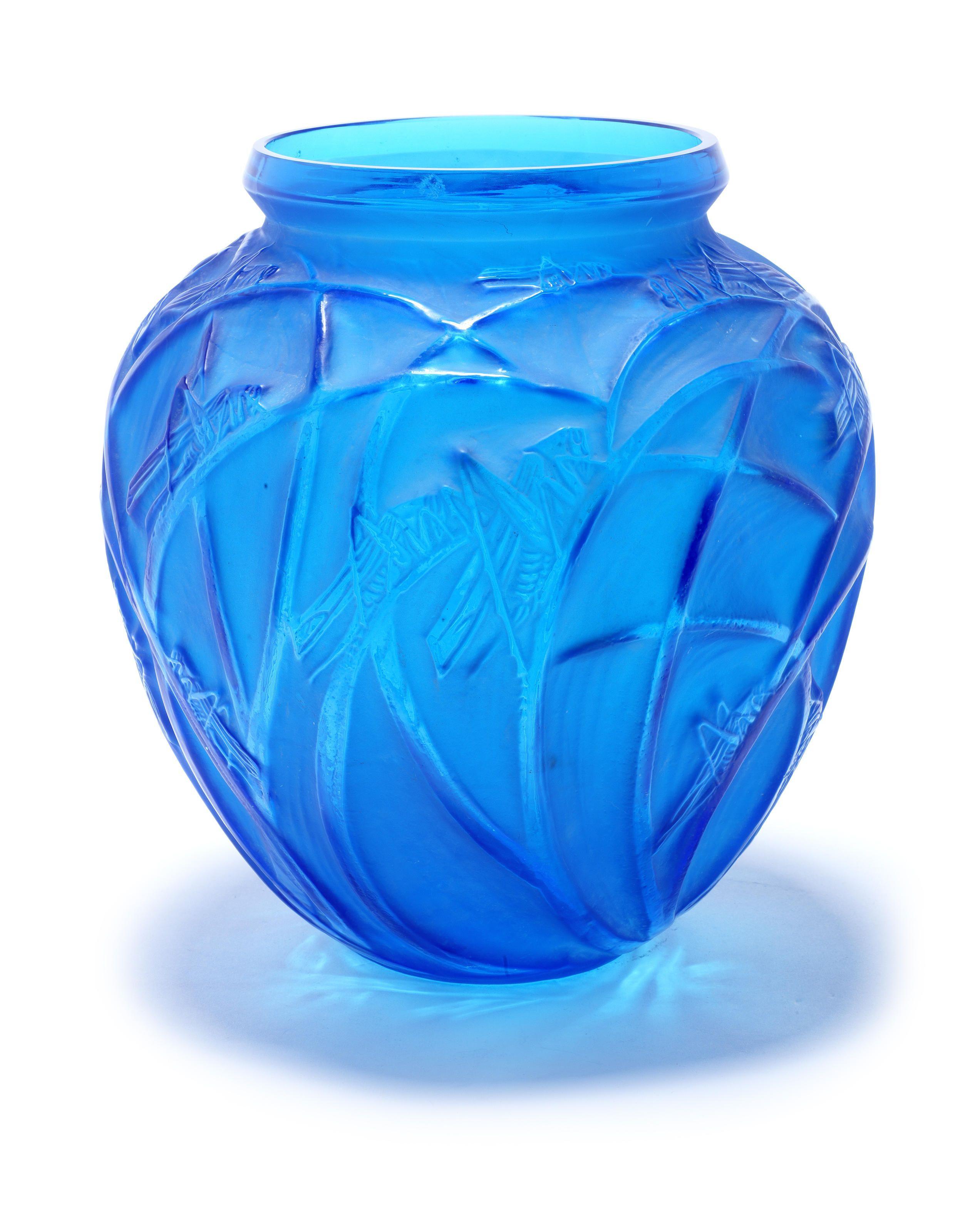 lalique glass vase of rena lalique sauterelles a vase design 1913 electric blue glass within rena lalique sauterelles a vase design 1913