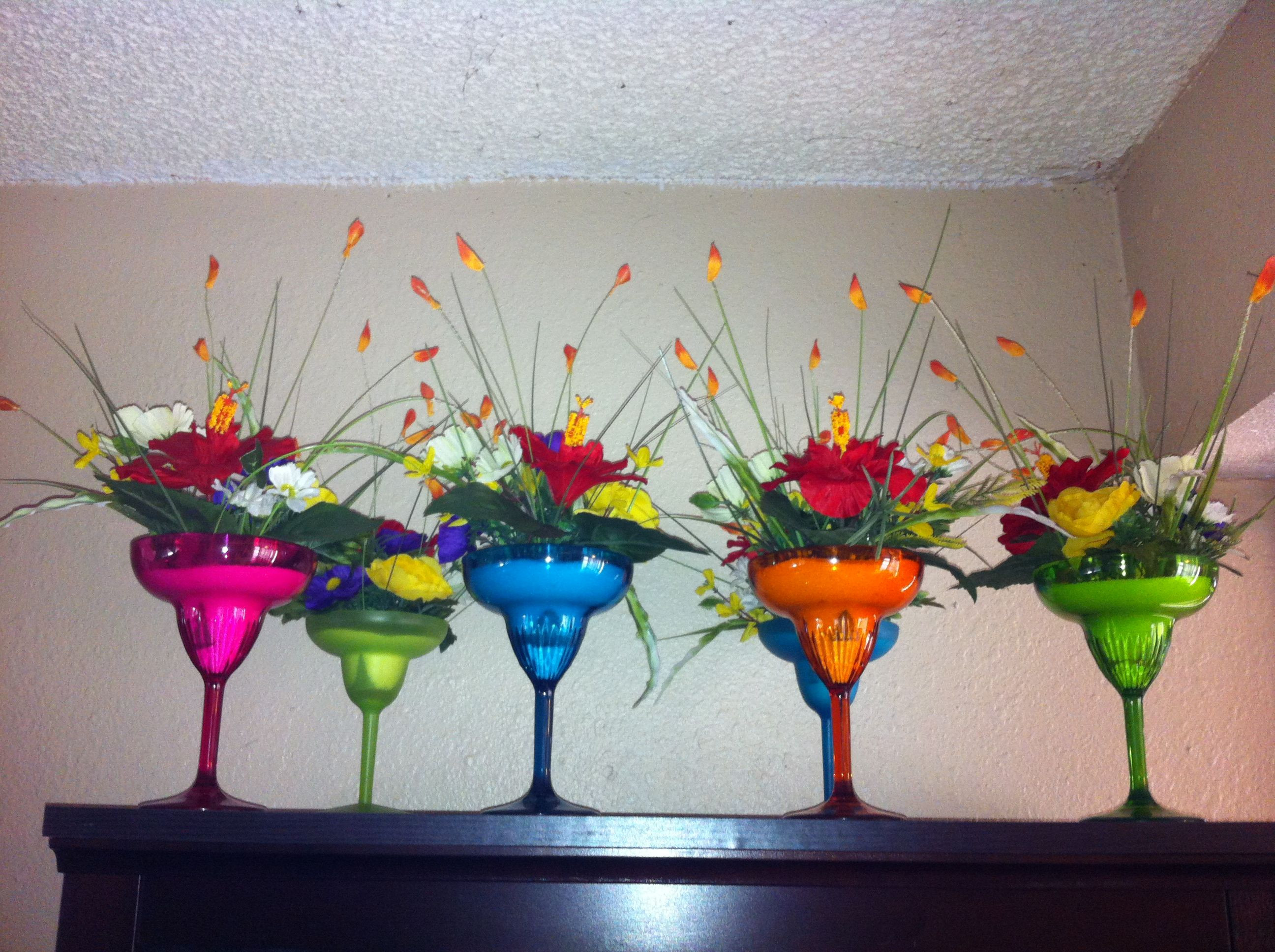 Large Acrylic Martini Vases Of Fiesta Party Centerpieces Plastic Margarita Glasses Filled with Inside Fiesta Party Centerpieces Plastic Margarita Glasses Filled with White Sand and Bright Colored Flowers