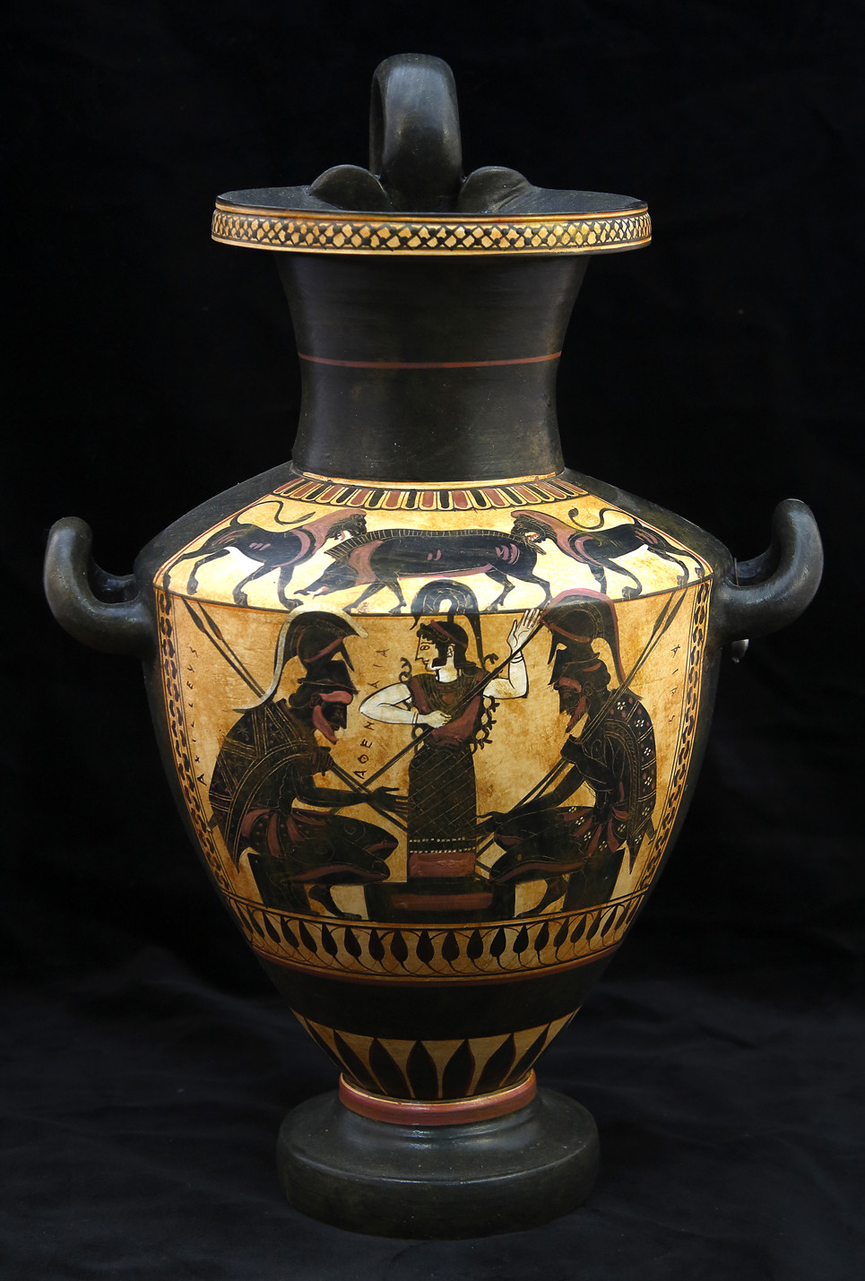large black vases for sale of greek pottery shop buy ancient greek vessels replicas ceramic vases throughout greek pottery shop black figured hydria with achilleas and ajax playing zatrikion and the godess athena