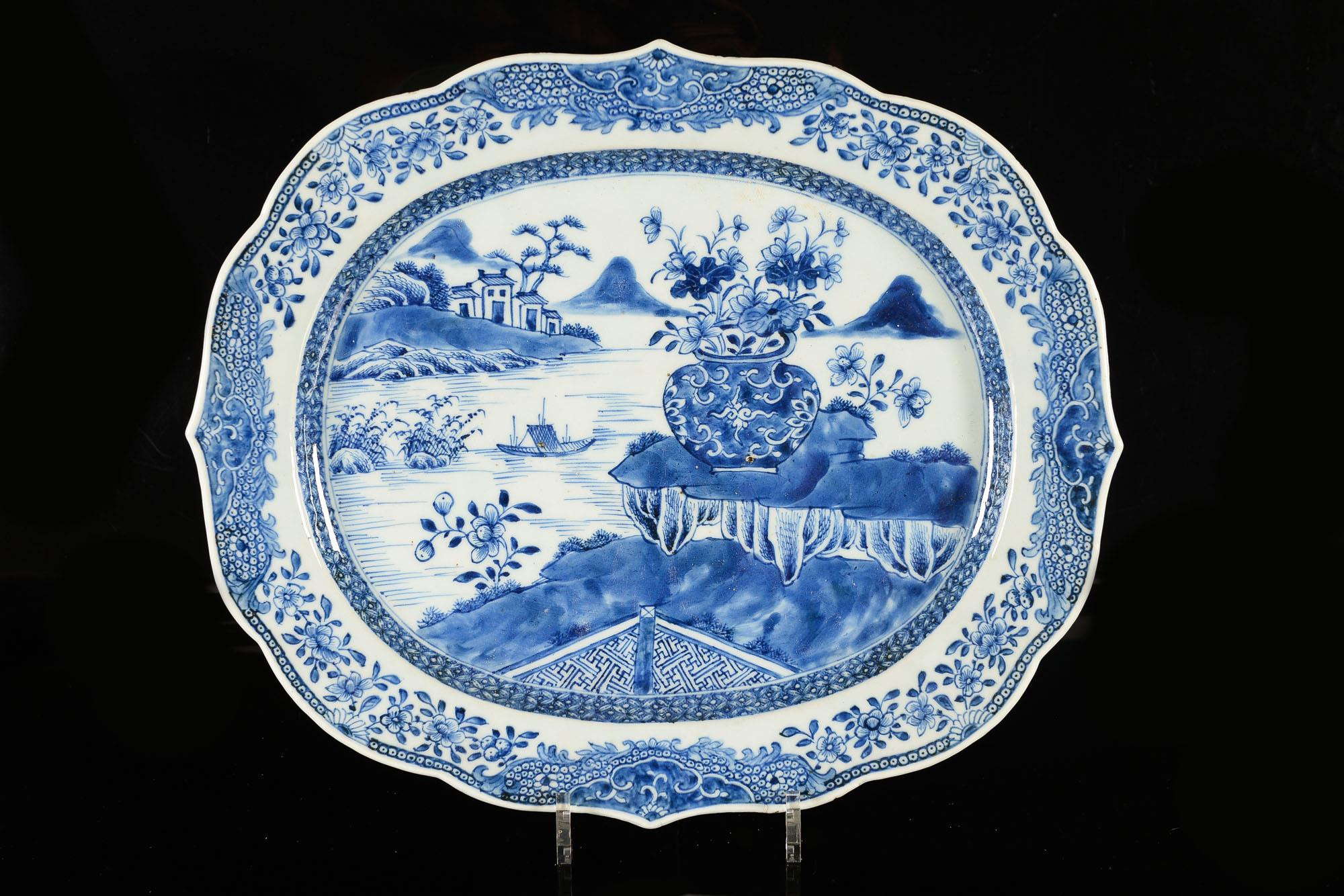 large blue and white chinese vases of 51bidlive a large blue and white porcelain dish decorated with a within a large blue and white porcelain dish decorated with a river landscape and a vase with flowers marked with seal mark in double circle china