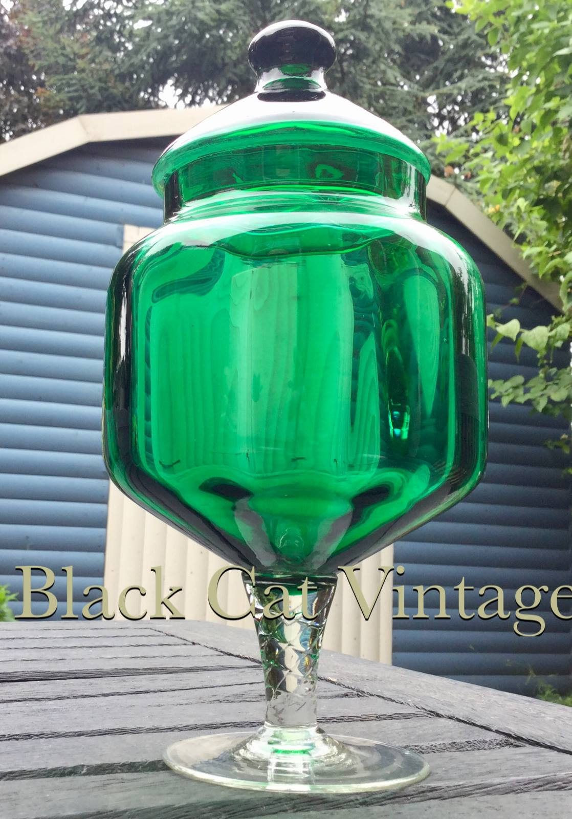 large brandy vase of vintage retro green blown glass lidded candy compote dish clear stem in vintage retro green blown glass lidded candy compote dish clear stem trinkets brandy vase 60s bathroom
