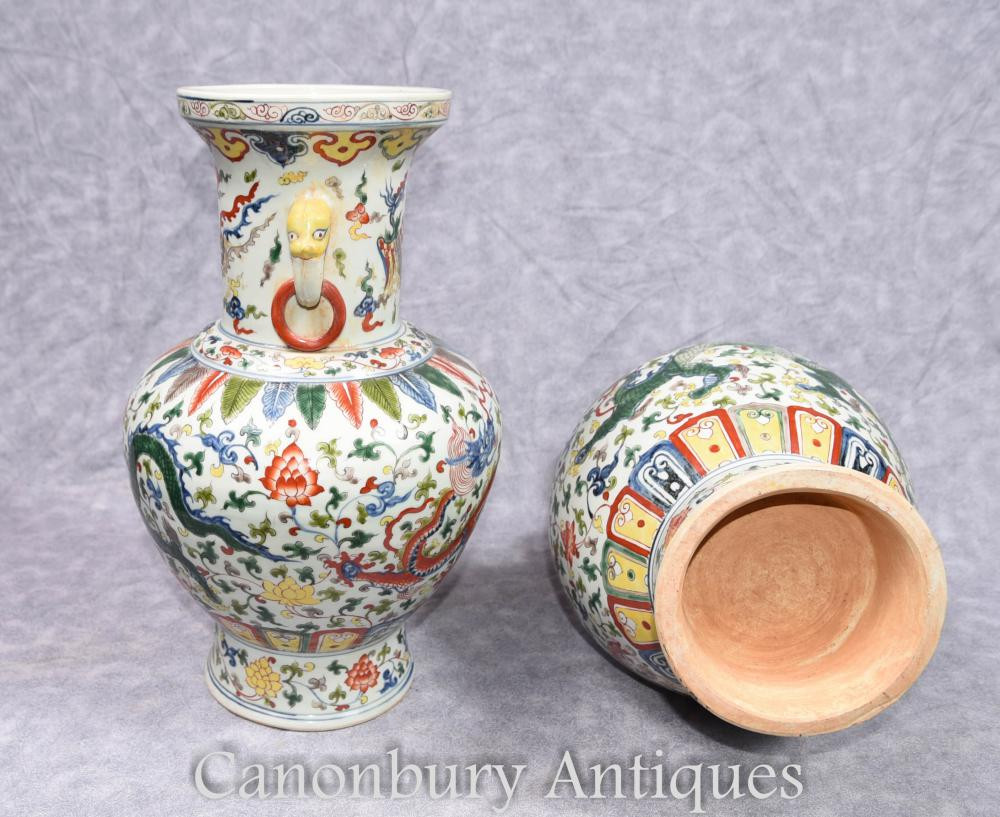 Large Ceramic Vases and Urns Of Pair Chinese Qianlong Porcelain Vases Dragon Urns Ceramic China Ebay with Regard to Additional Images