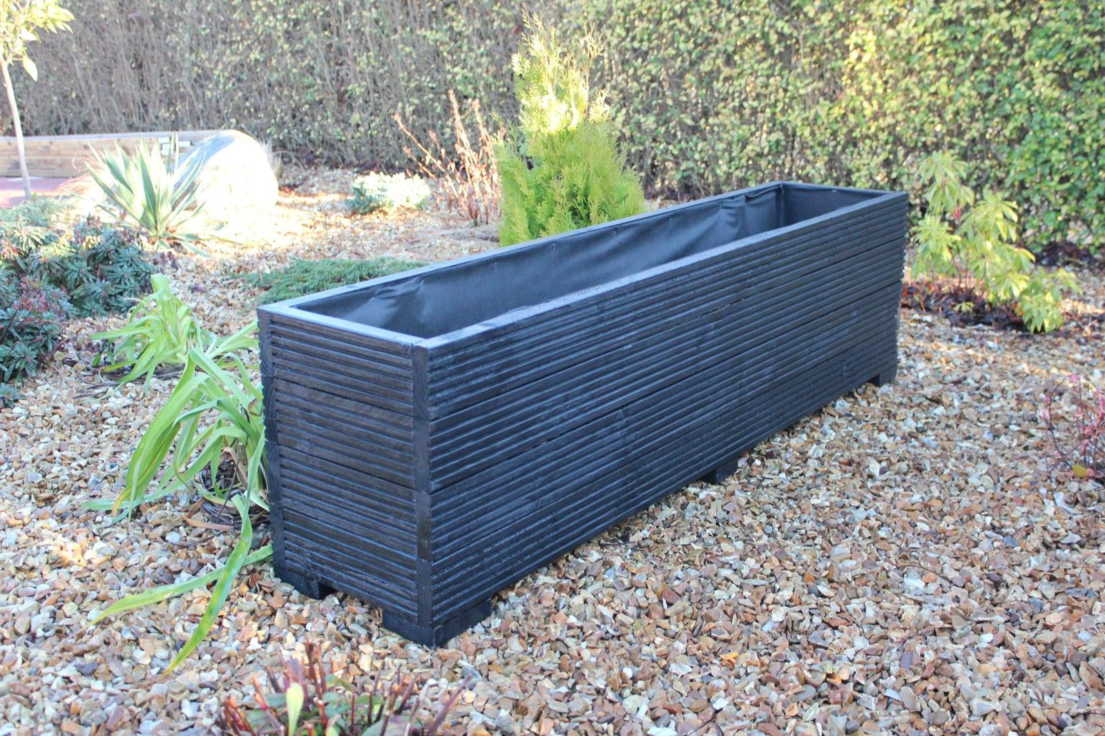 large garden vases of large wooden garden planter trough painted in cuprinol black 150cm with large wooden garden planter trough painted in cuprinol black 150cm long decking