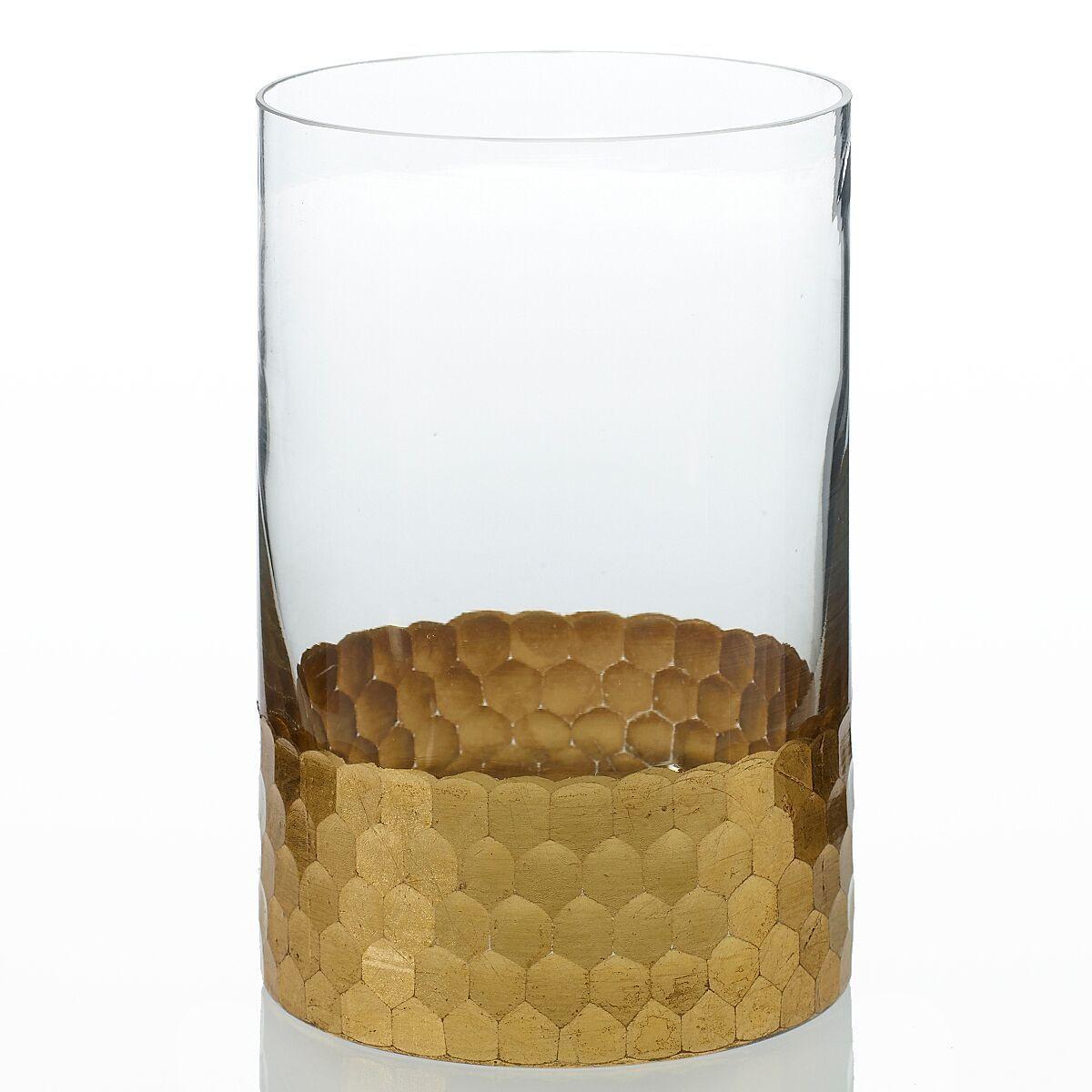 large glass cylinder vase centerpiece candle holder of elsa glass floral vase with gold detail 4in wide x 6in tall inside elsa glass floral vase with gold detail 4in wide x 6in tall