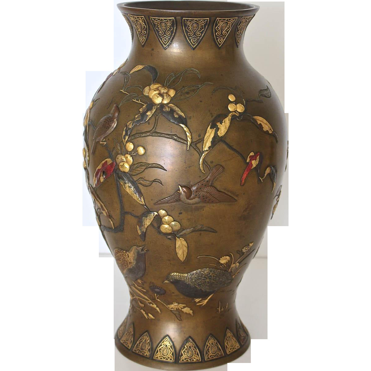 large japanese floor vases of magnificent taisho period japanese mixed metal bronze vase inside ed76f642d3e2bde21f73035f8e0cd5d7