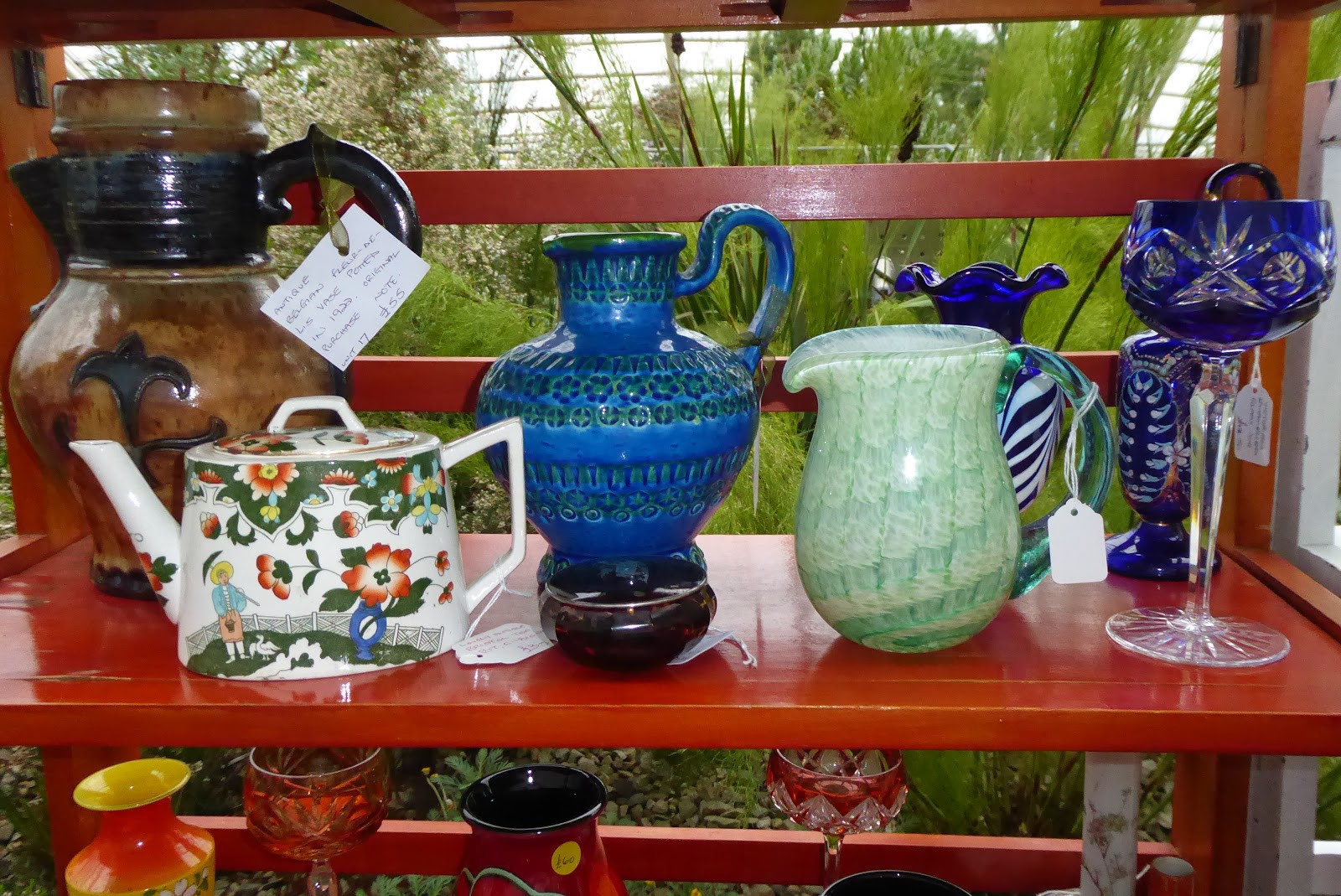 large japanese vase of codlinsandcream2 phew that was a tiring weekend throughout a big hefty fleur de lis jug from belgium includes sale docket dated 1922 bittori jug really heavy green glass jug some bavarian blue glass
