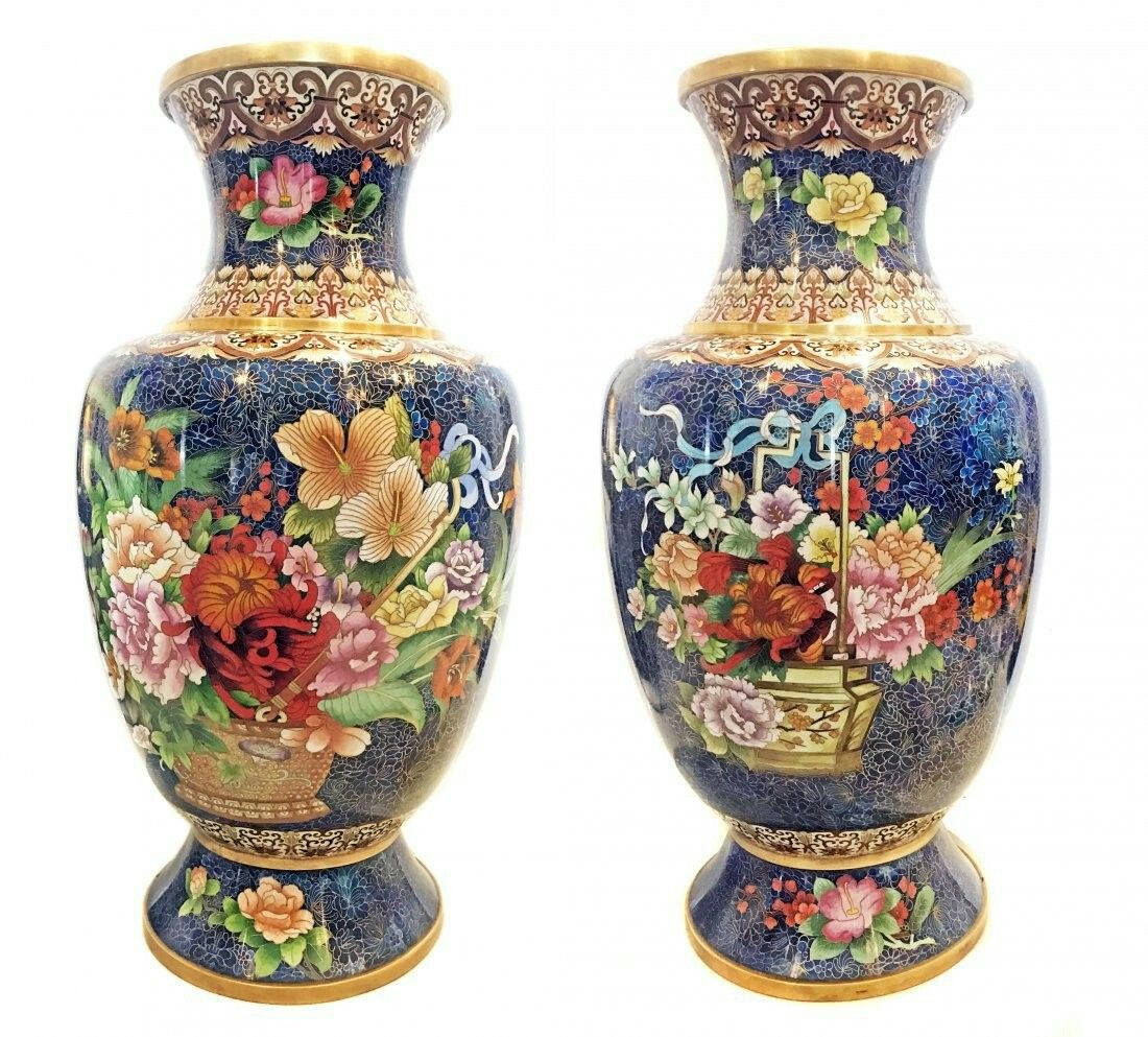 Large orange Vase Of A Pair Of Large Chinese Cloisonne Enamel Vases Cloisonne for Intended for A Pair Of Large Chinese Cloisonne Enamel Vases
