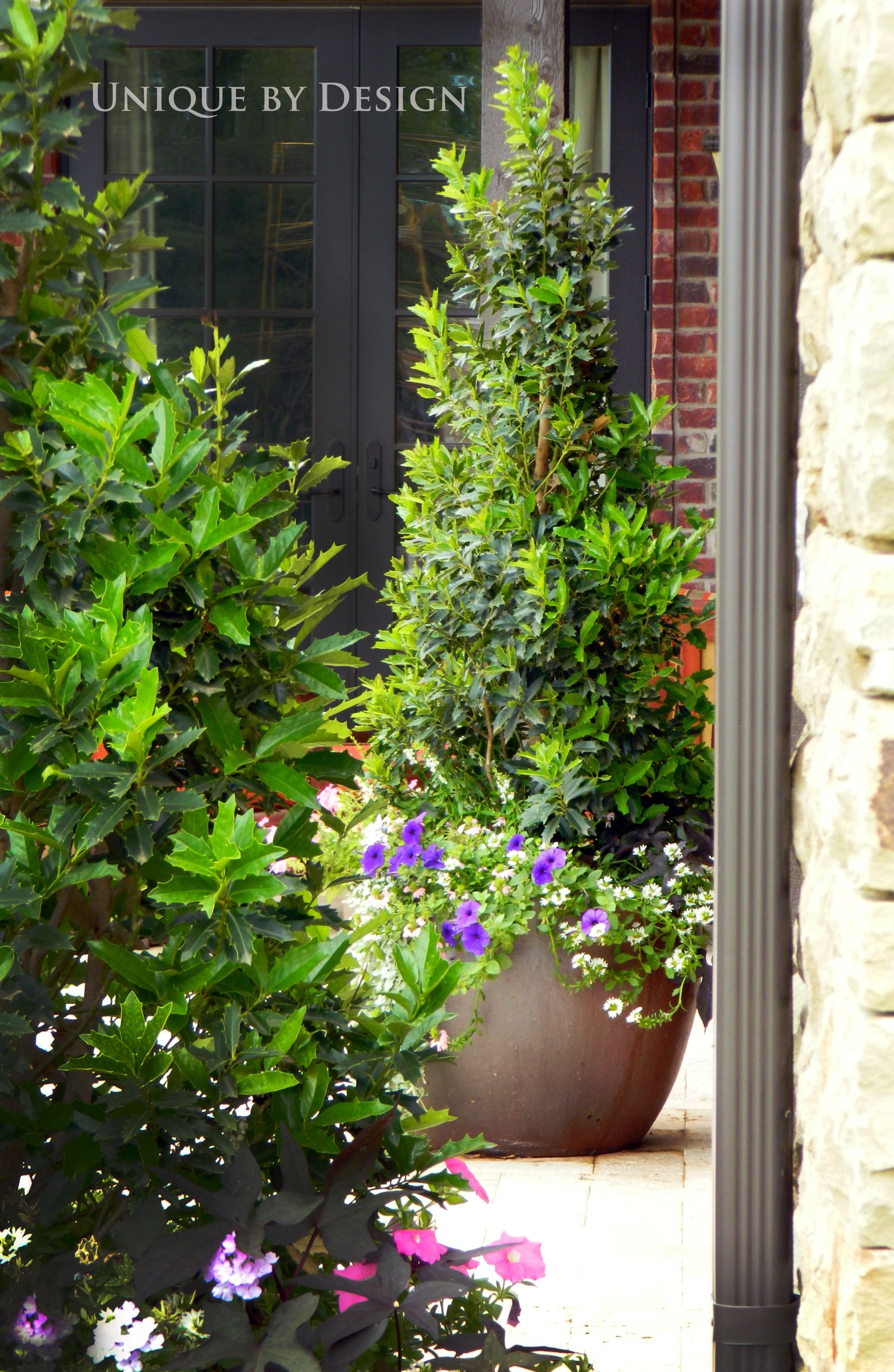 large outdoor pottery vases of tall skinny and pointed shrubs in planter pots left and right of for tall skinny and pointed shrubs in planter pots left and right of stairway conifer