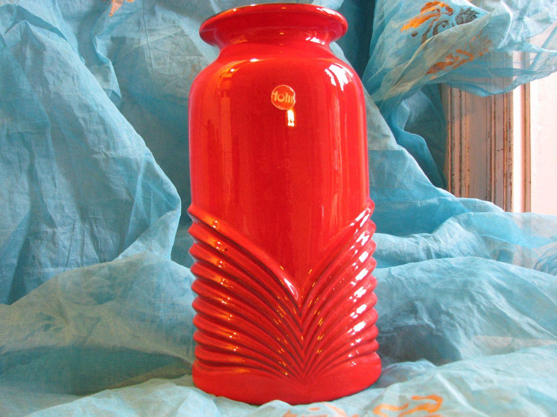 large plastic vase of vase 1960s op art fohr keramik 337 24 wgp west german pottery in vintage op art vase fohr keramik no 337 24 1960s wgp west german pottery large very red mid century design w label fat lava von evergl