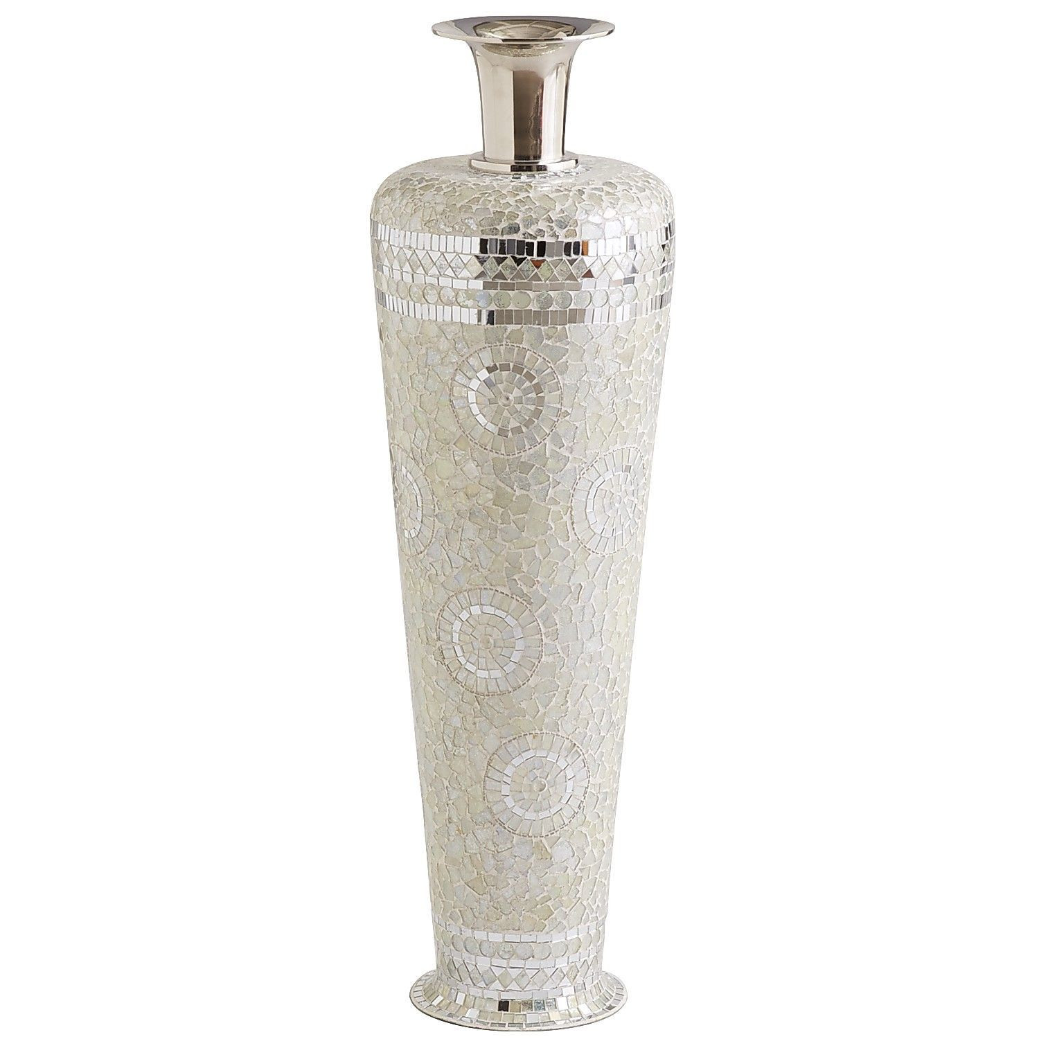Large Silver Mosaic Vase Of Decmode Round Silhouette Ceramic Vase 71732 Intended for Silver White Mosaic Vase