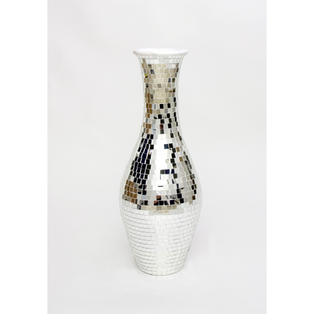 Large Silver Mosaic Vase Of Tall Mirrored Floor Vase Mirror Ideas with Floor Vase Large Crystal Tall Silver Vases
