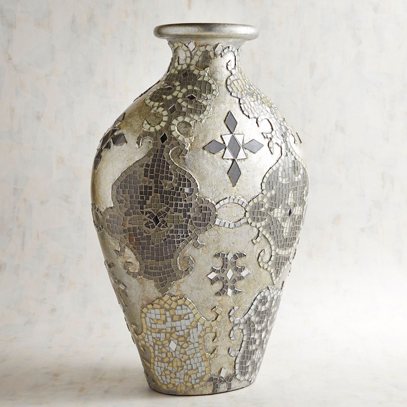 large silver urn vase of silver gray mosaic vase mosaic vase and mosaics inside silver gray mosaic vase pier 1 imports