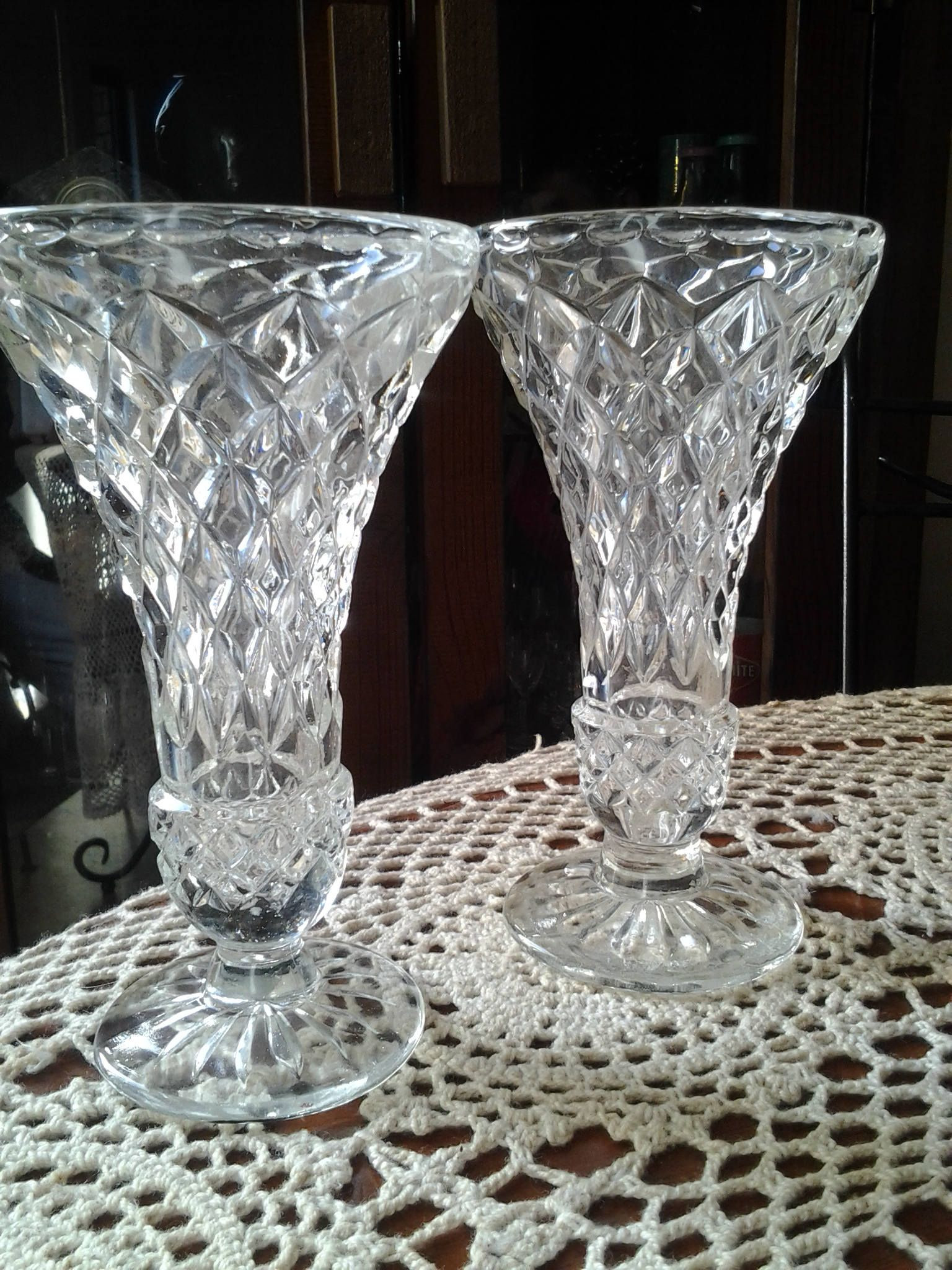 Large Square Clear Glass Vases Of 1950s Pair Of On Glass Vase Small Posy Vintage Coloured and Throughout 1950s Pair Of On Glass Vase Small Posy