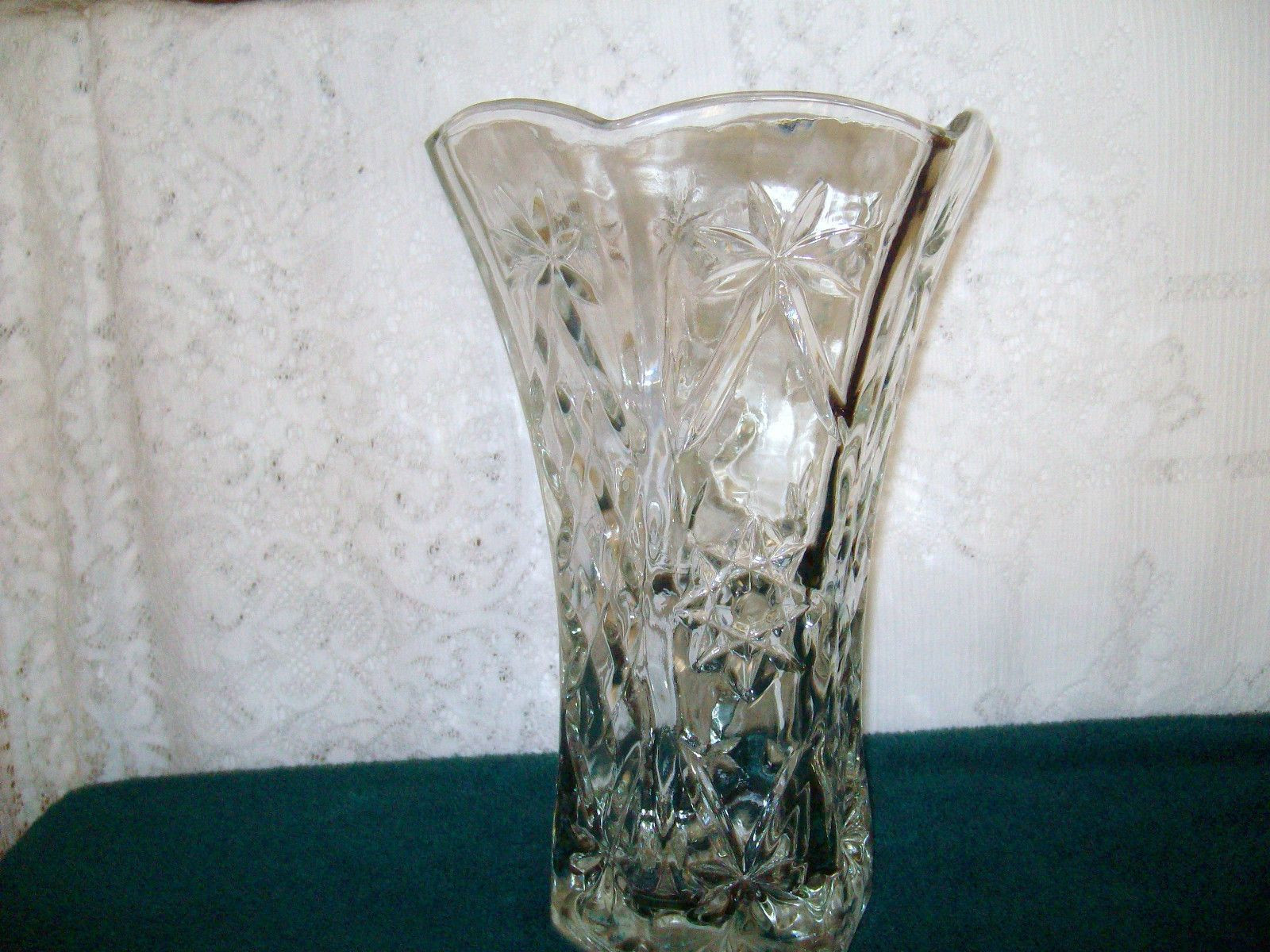 large square clear glass vases of vintage heavy depression cut glass vase 10 1 2 tall ruffled edges within vintage heavy depression cut glass vase 10 1 2 tall ruffled edges