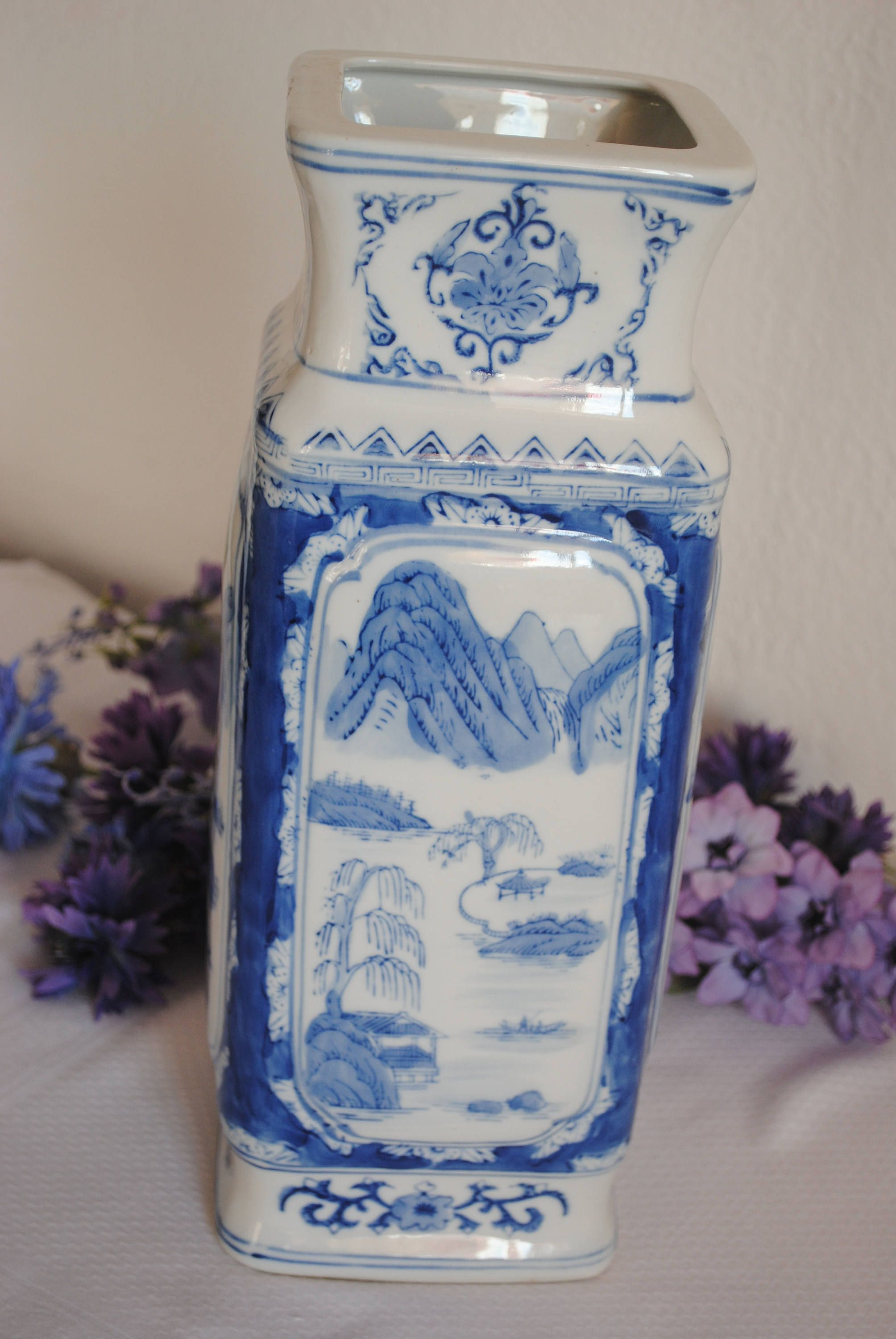 large square vase of large chinese vase blue white vase unusual square vase oriental in large chinese vase blue white vase unusual square vase oriental style by sjmartcollectables on etsy