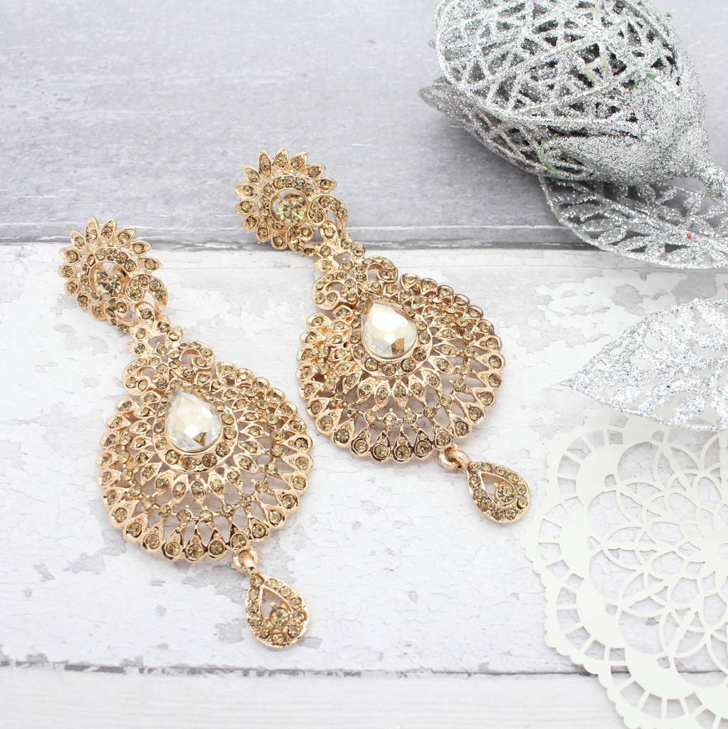 Large Teardrop Glass Vase Of Antique Gold Stone Chandelier Earrings by isabella Charm Regarding Antique Gold Stone Chandelier Earrings by isabella Charm Notonthehighstreet Com