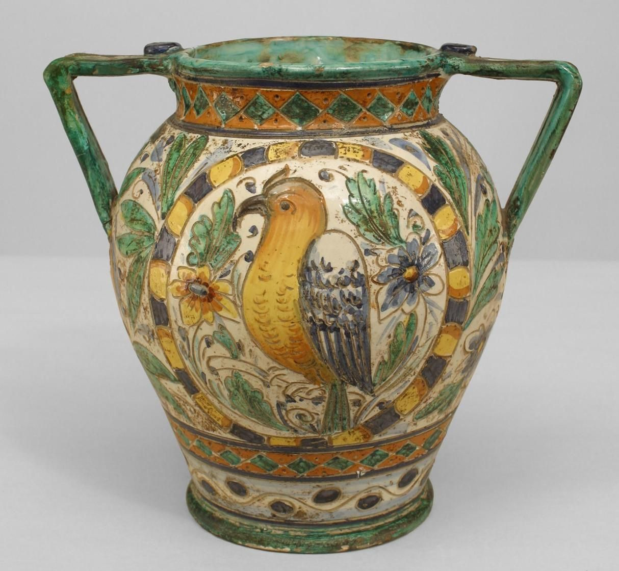 large urn vase of i purchased a large spanish ewer pitcher in similar design recently for i purchased a large spanish ewer pitcher in similar design recently at an amazing estate sale this one is a 19th c majolica italy vase in the neo