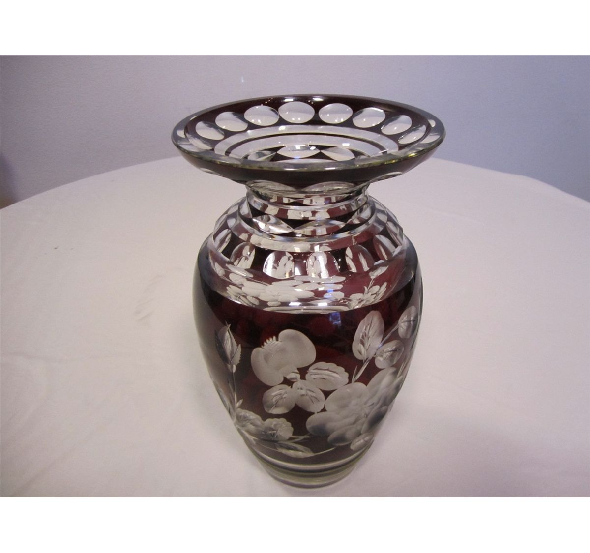 Large Vase Candle Holder Of Antique Bohemian Czech Deep Ruby Red Cut to Clear Crystal Vase 11 1 Intended for Antique Bohemian Czech Deep Ruby Red Cut to Clear Crystal Vase 11 1 2 Tall