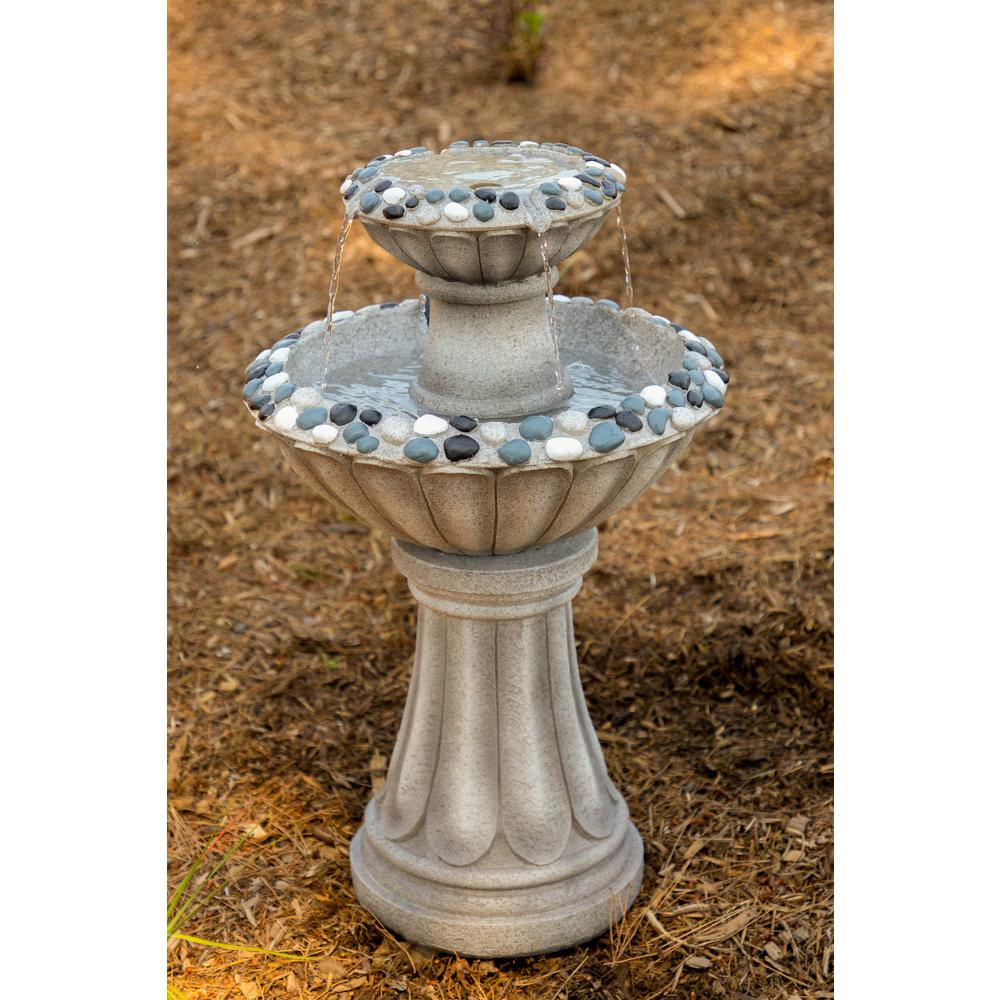 large vase water fountain of ceramic fountains outdoor decor the home depot within tall grey 2 tier pedestal fountain