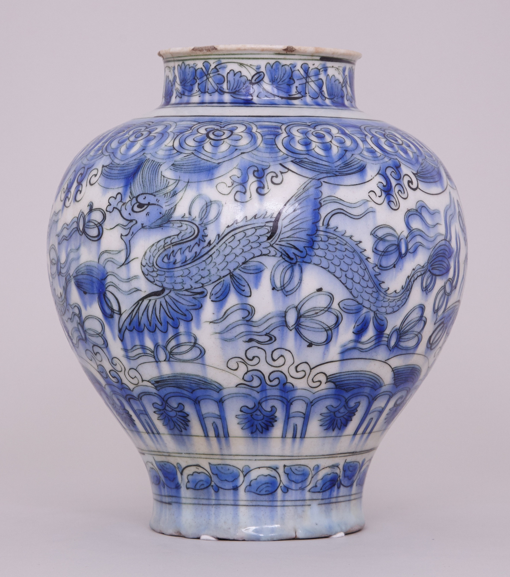 large white pottery vase of a blue and white persian safavid jar 17th century anita gray with a blue and white persian safavid jar