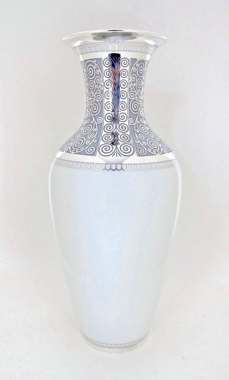 large white pottery vase of large rosenthal porcelain silver overlay vase at 1stdibs intended for german large rosenthal porcelain silver overlay vase for sale