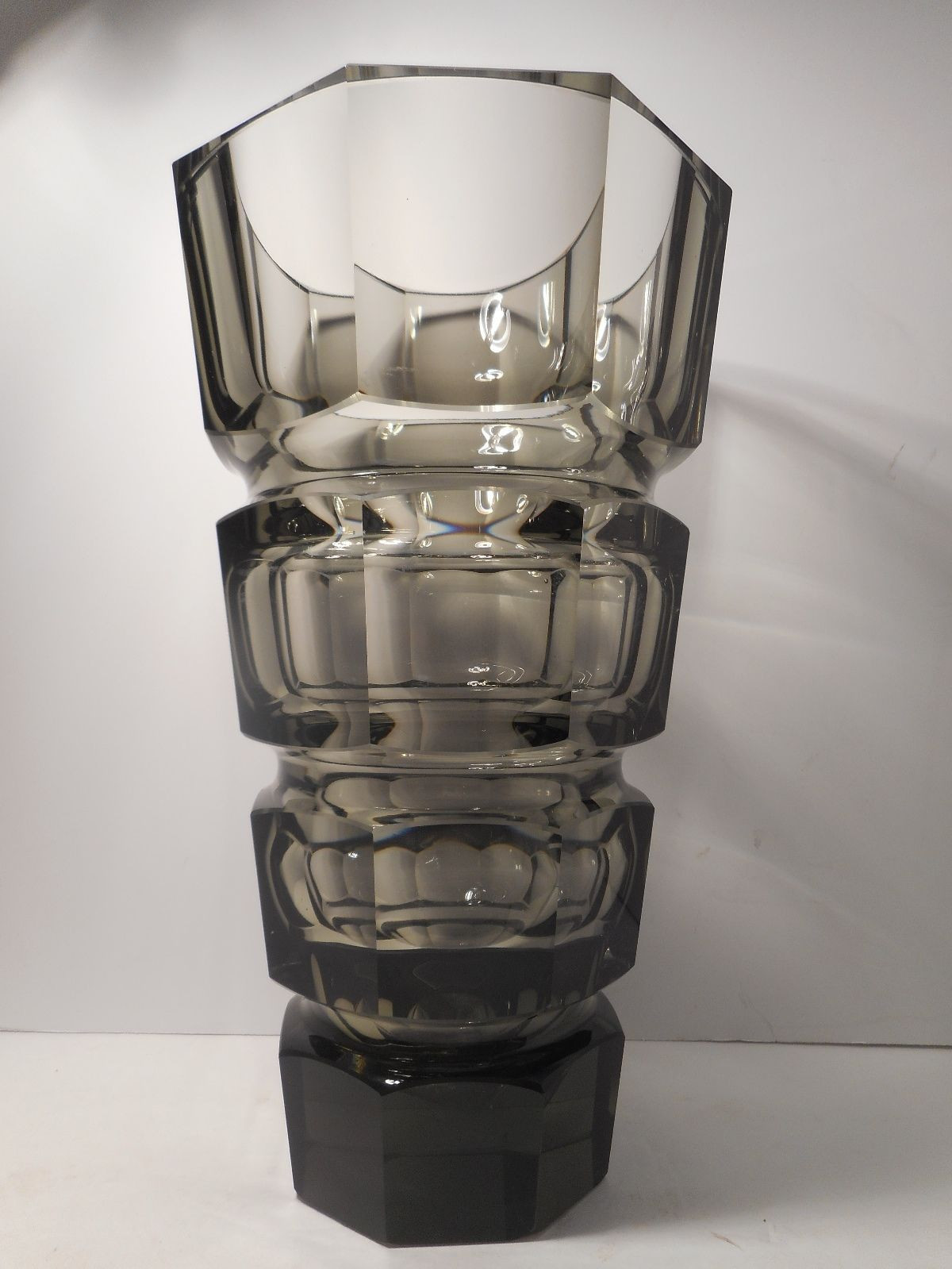 lead crystal vase made in poland of large vintage moser bohemian smokey topaz crystal glass vase ebay inside large vintage moser bohemian smokey topaz crystal glass vase ebay