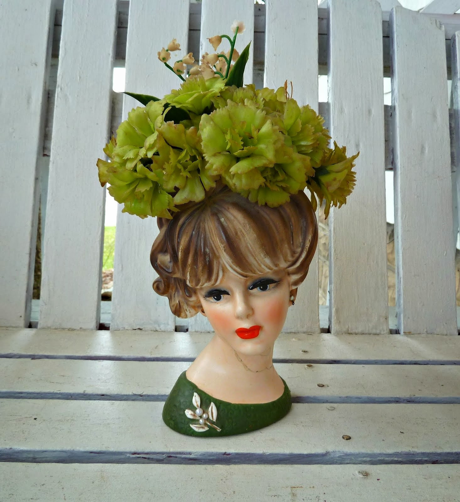Lefton Lady Head Vases Of Old Glory Cottage Easter Decorations within A™¥lady Head Vasesa™¥