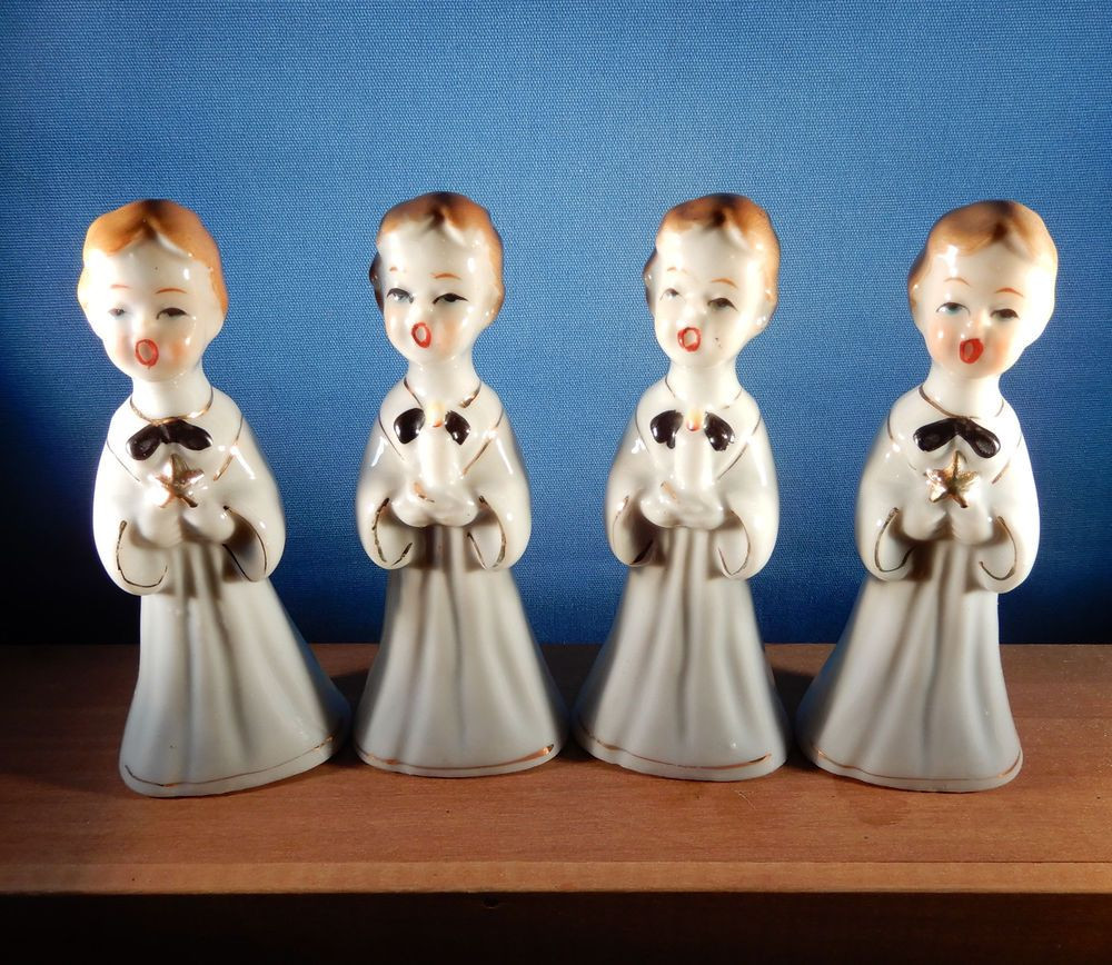 lefton lady head vases of vintage napco boy angel planter christmas ebay inside details about 4 vintage christmas ceramic choir boy figurines japan