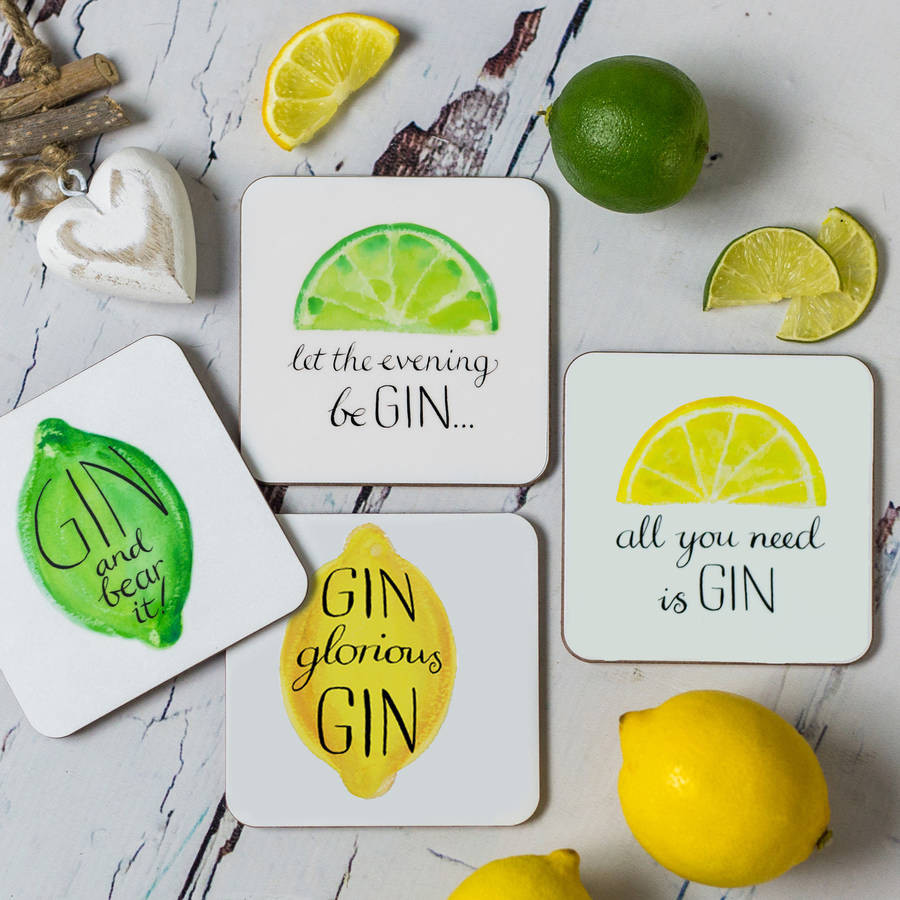 lemon vase filler of humorous gin drinks coasters by have a gander notonthehighstreet com in humorous gin drinks coasters