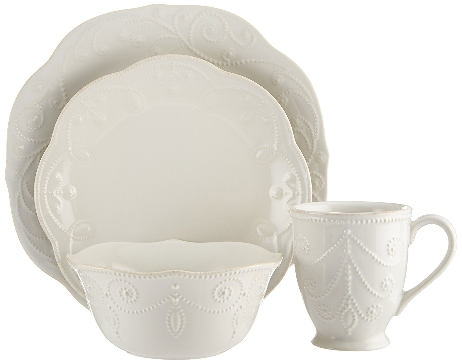 lenox china vases discontinued of amazon com lenox french perle 4 piece place setting white dinner for amazon com lenox french perle 4 piece place setting white dinner set white round beaded kitchen dining