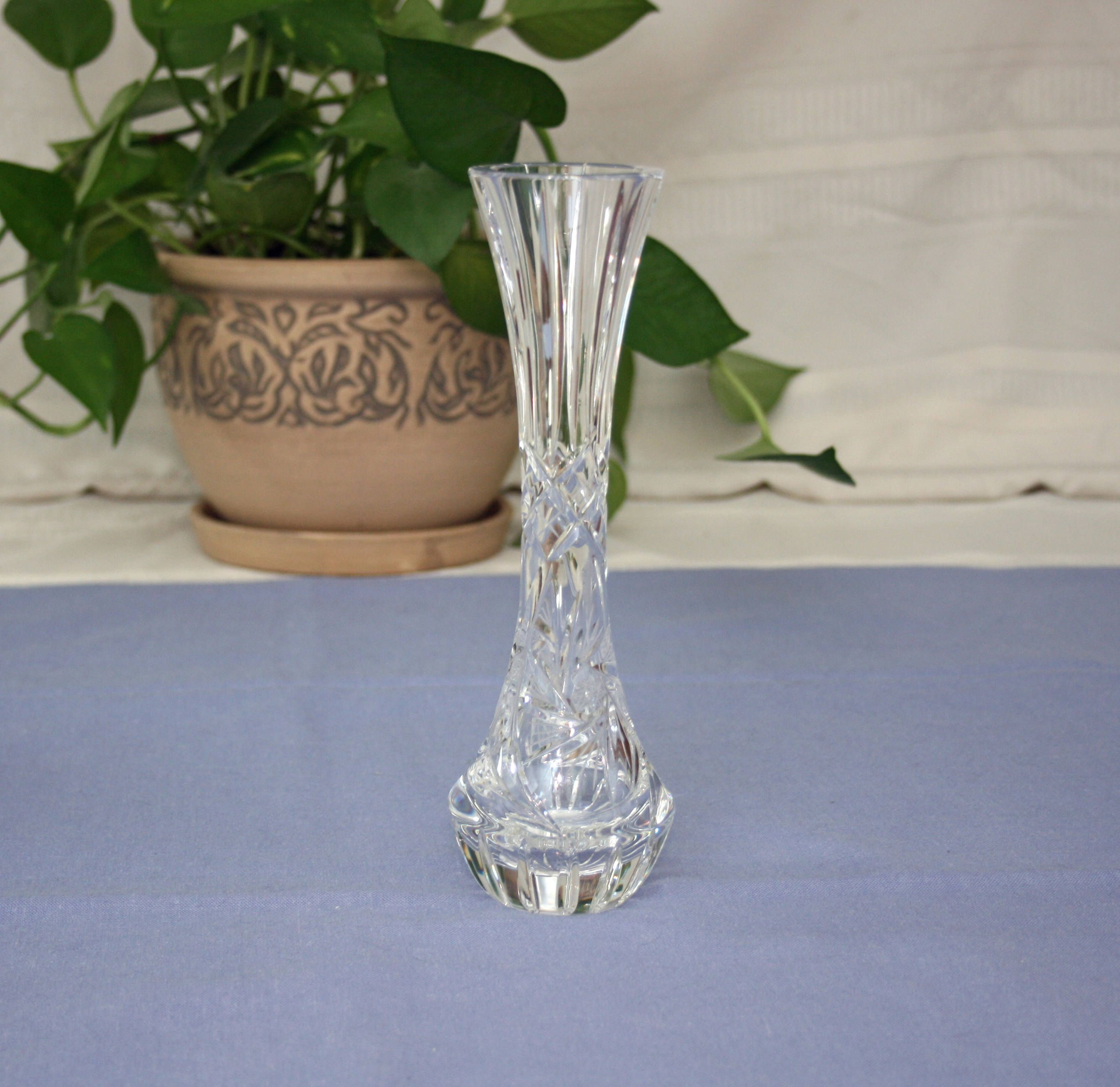 lenox crystal vase patterns of vintage pair 6 inch pressed glass candlesticks with hand c with regard to vintage lead crystal fluted bud vase hand cut swirled star pinwheel flower glass vase home decor