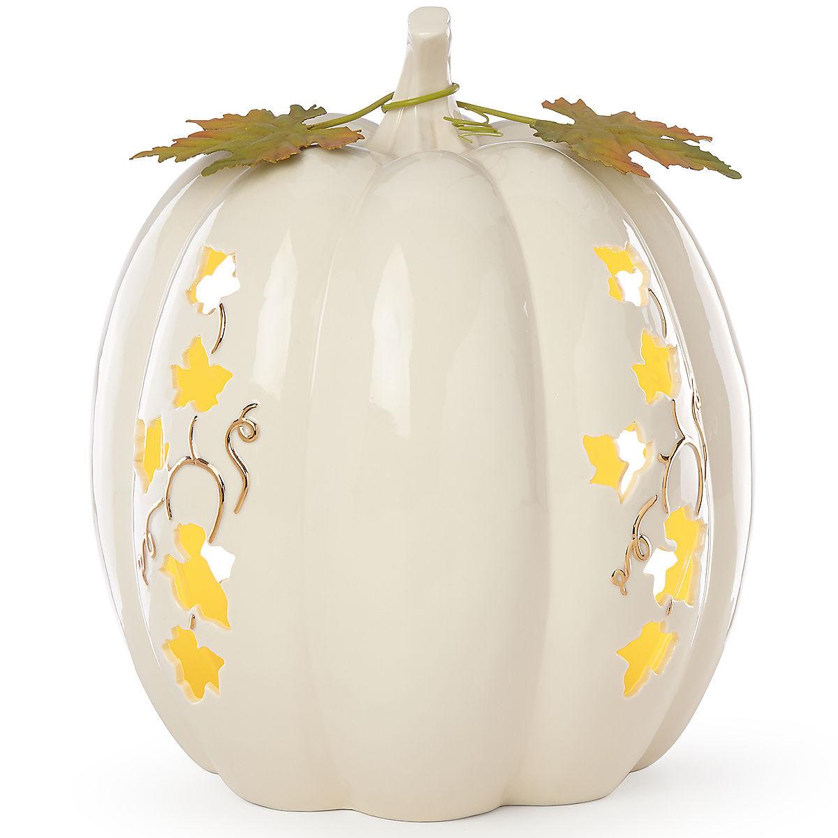 lenox holiday vase of lighted pumpkin large centerpiece harvest intended for lighted pumpkin large centerpiece